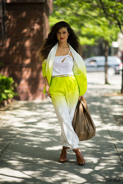 Blind-Stab-Dana-Suchow-New-York-Spring1-Neon-Green-Ombre-Suit-Outfit