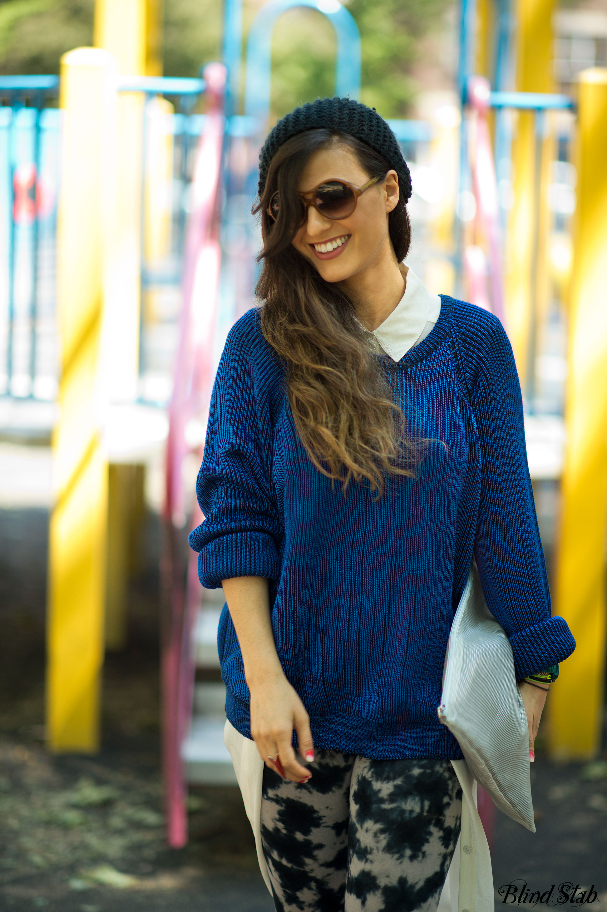 Streetstyle-Blue-Sweater-Fishtail-Skirt
