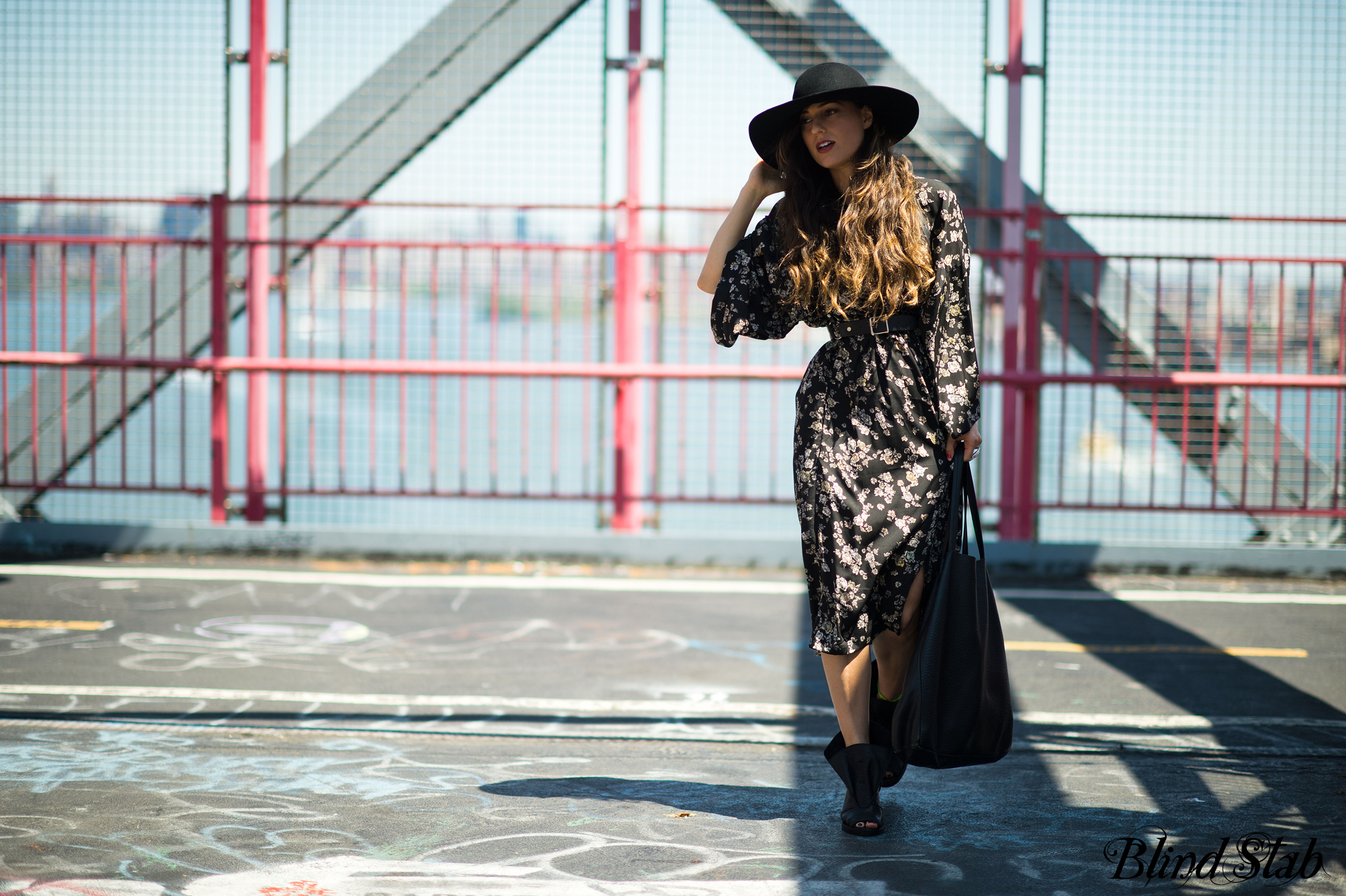 Blind-Stab-Dana-Suchow-Spring-4-Zana-Bayne-Harness-Wide-Brim-Hat-Williamsburg-Bridge-Topshop-Kimono-Dress