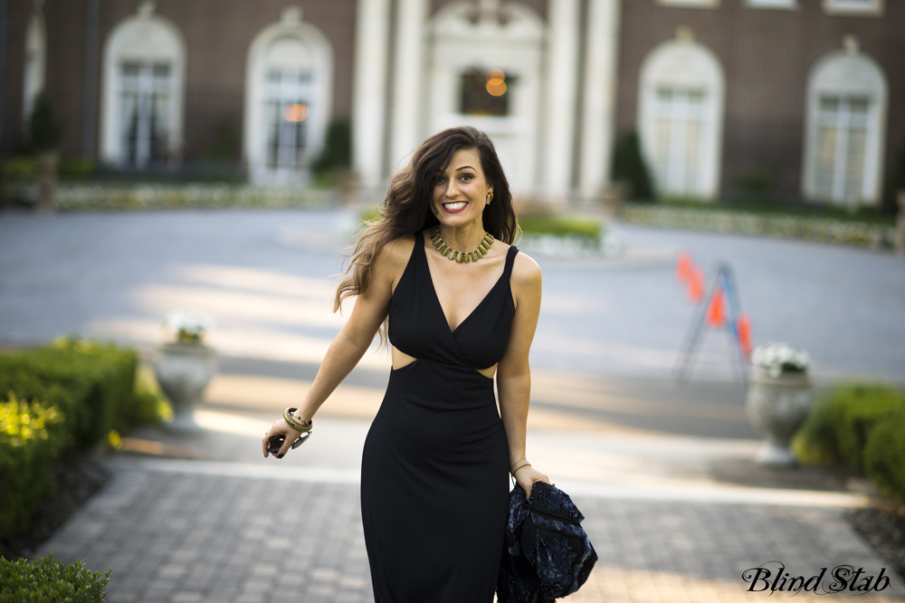 Blind-Stab-Dana-Suchow-Wedding-Weekend-Black-Maxi-Dress-Celine-Clutch
