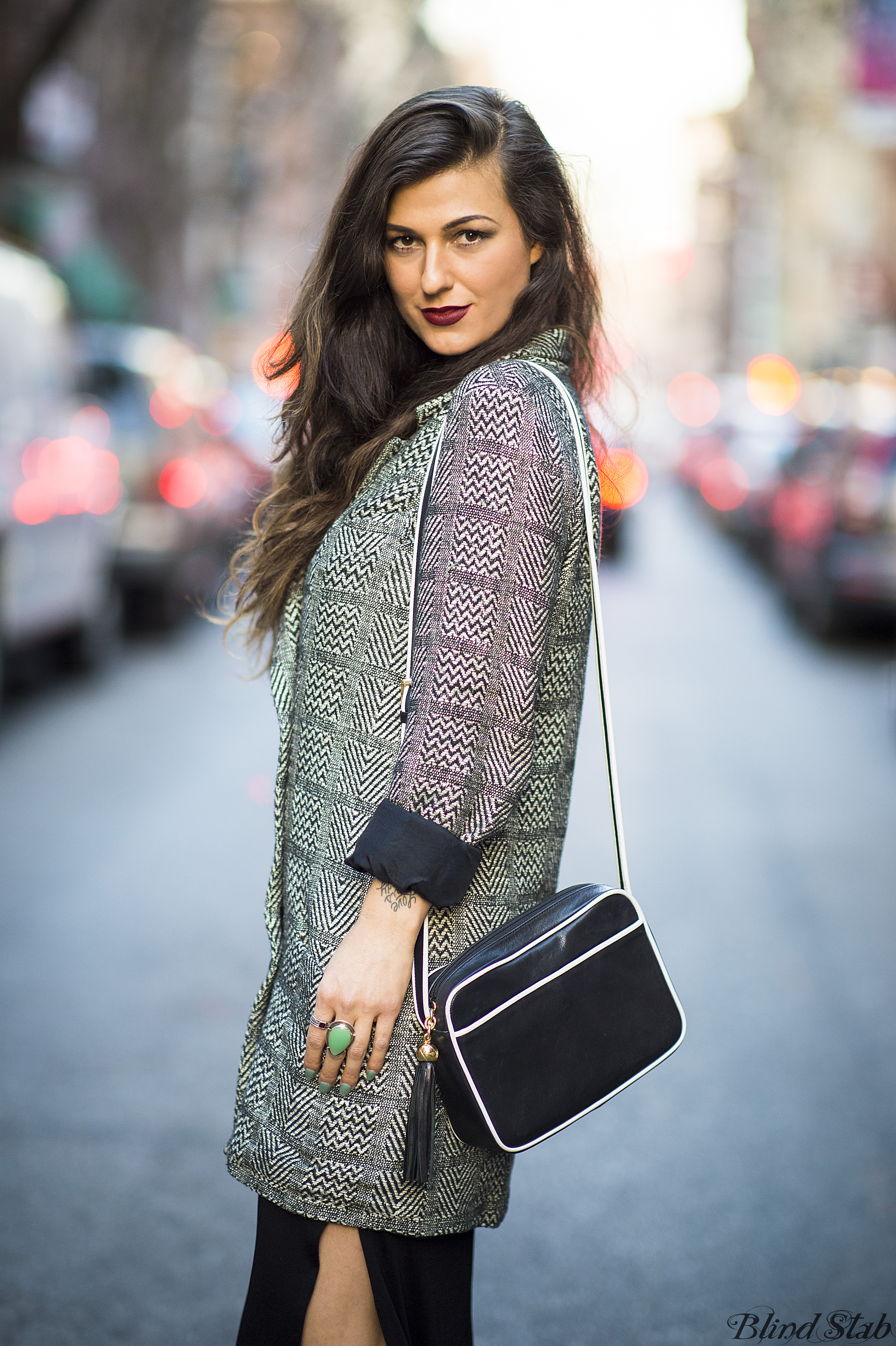 Long-Brown-Hair-Plaid-Coat-Turquoise-Nails