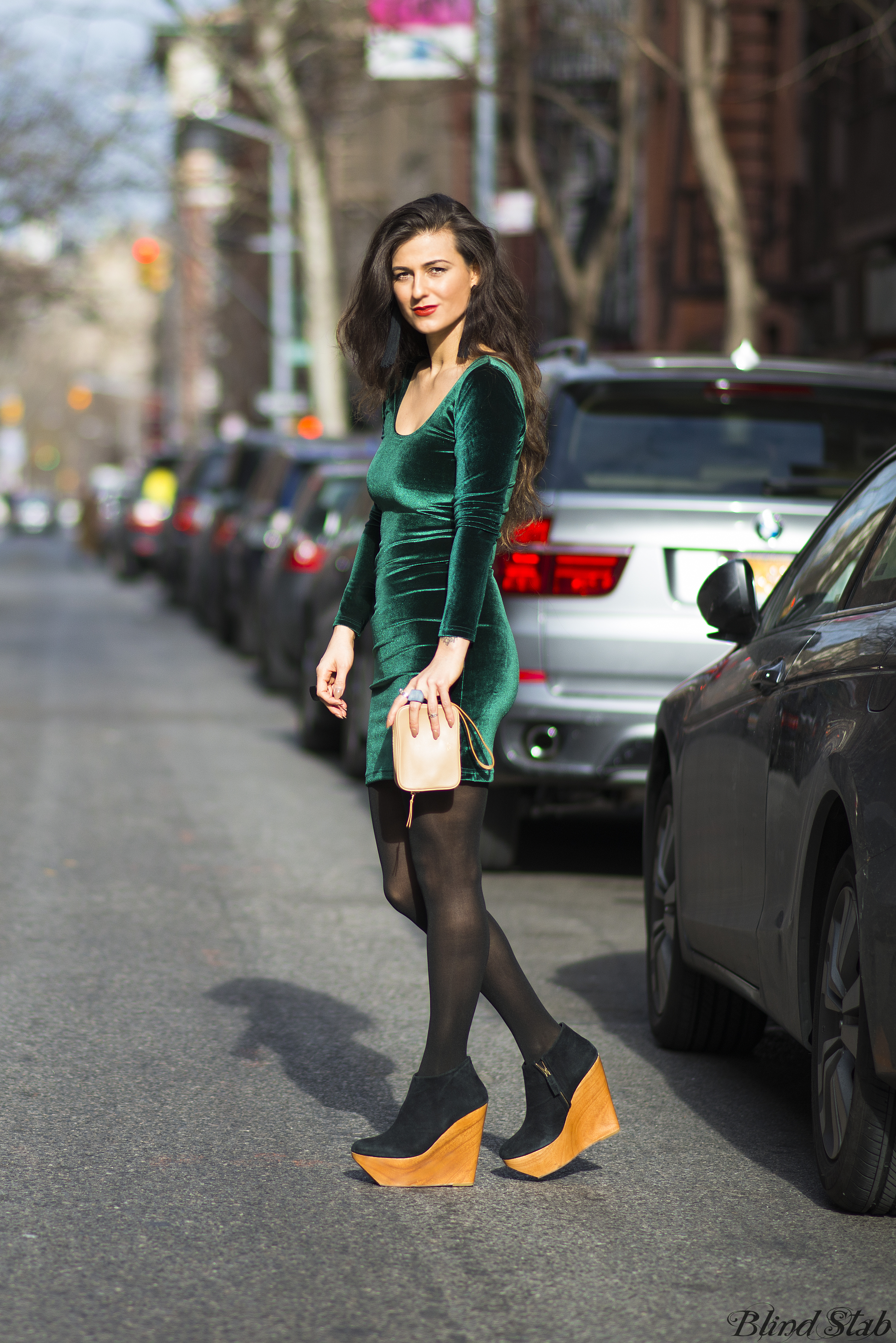 Green-Velvet-Dress-Wood-Platform-Wedges