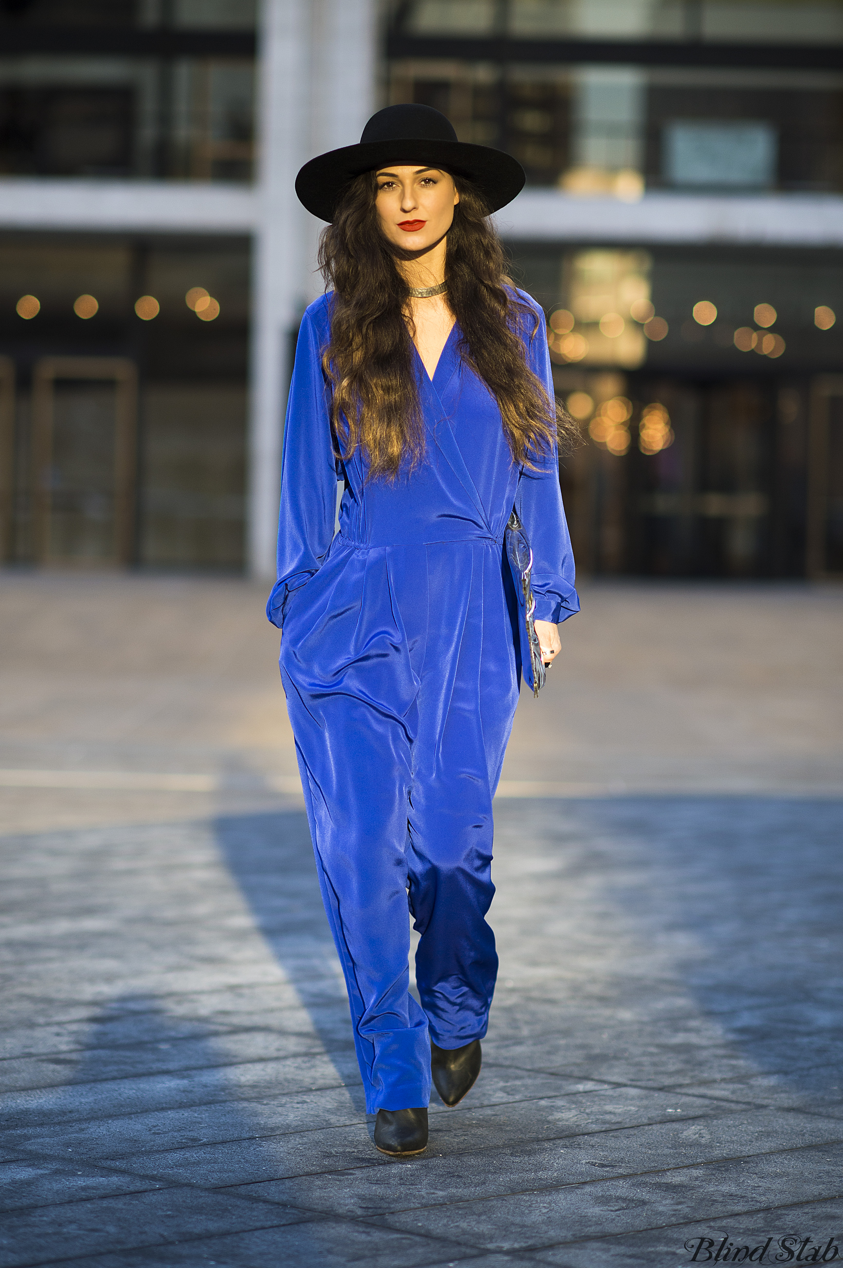 Blue-Jumpsuit-Wide-Brim-Hat-NYC-Street-Style