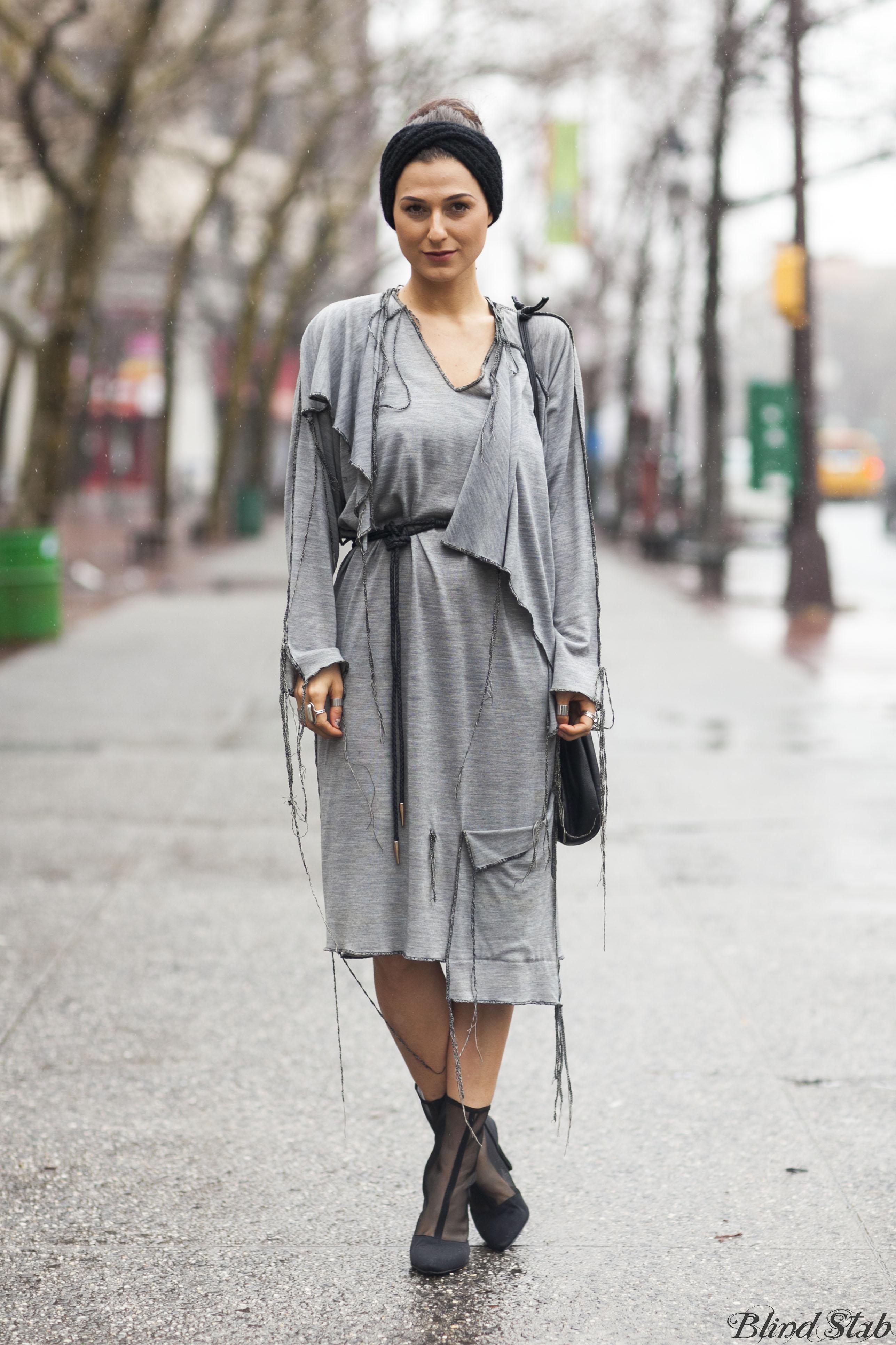Gray-Shredded-Torn-Dress-NYC-Street-Style-Winter-Headband-Mesh-Heels