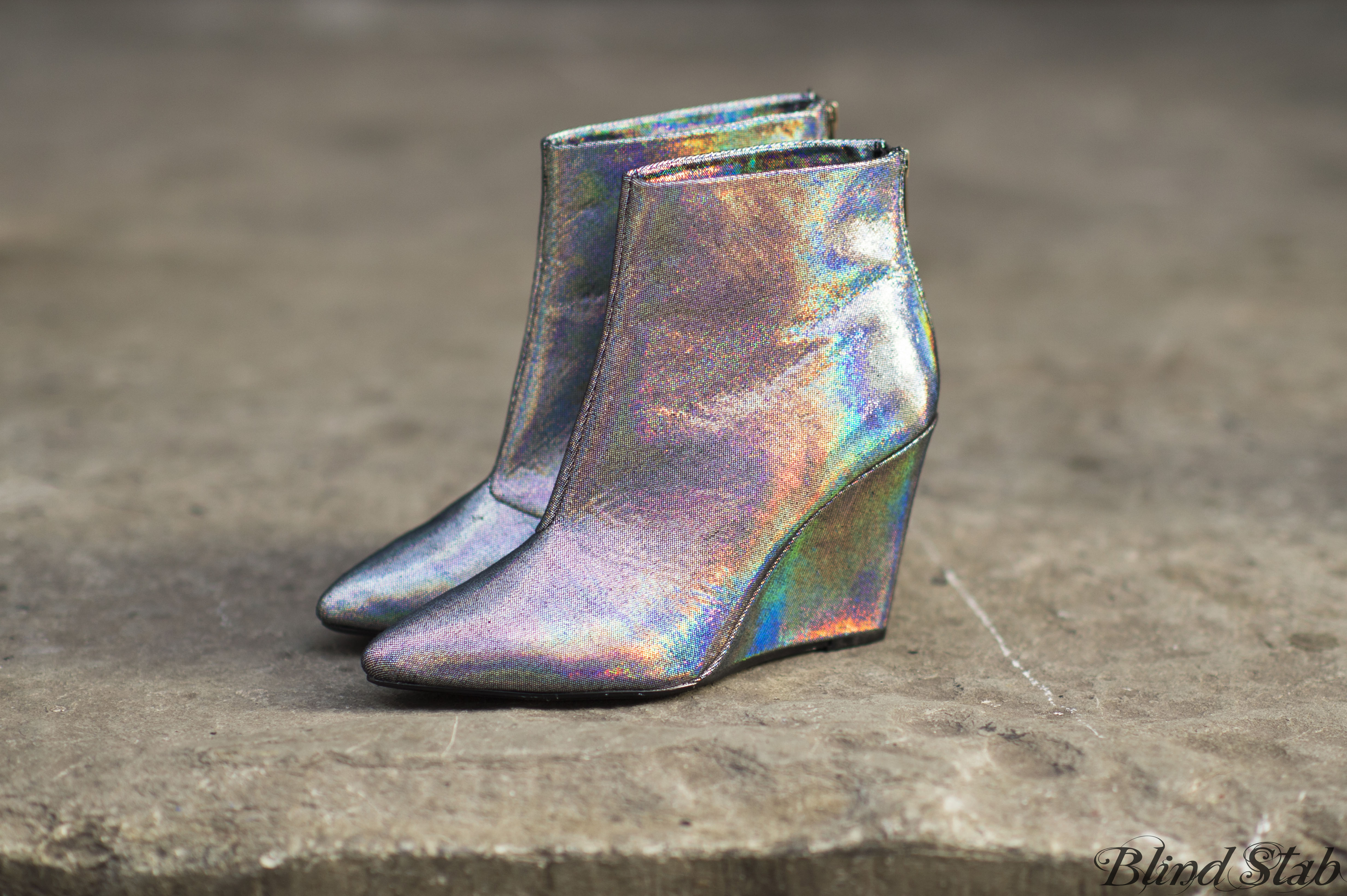 Blind Stab Dana Suchow Hologram Wedge Ankle Boots