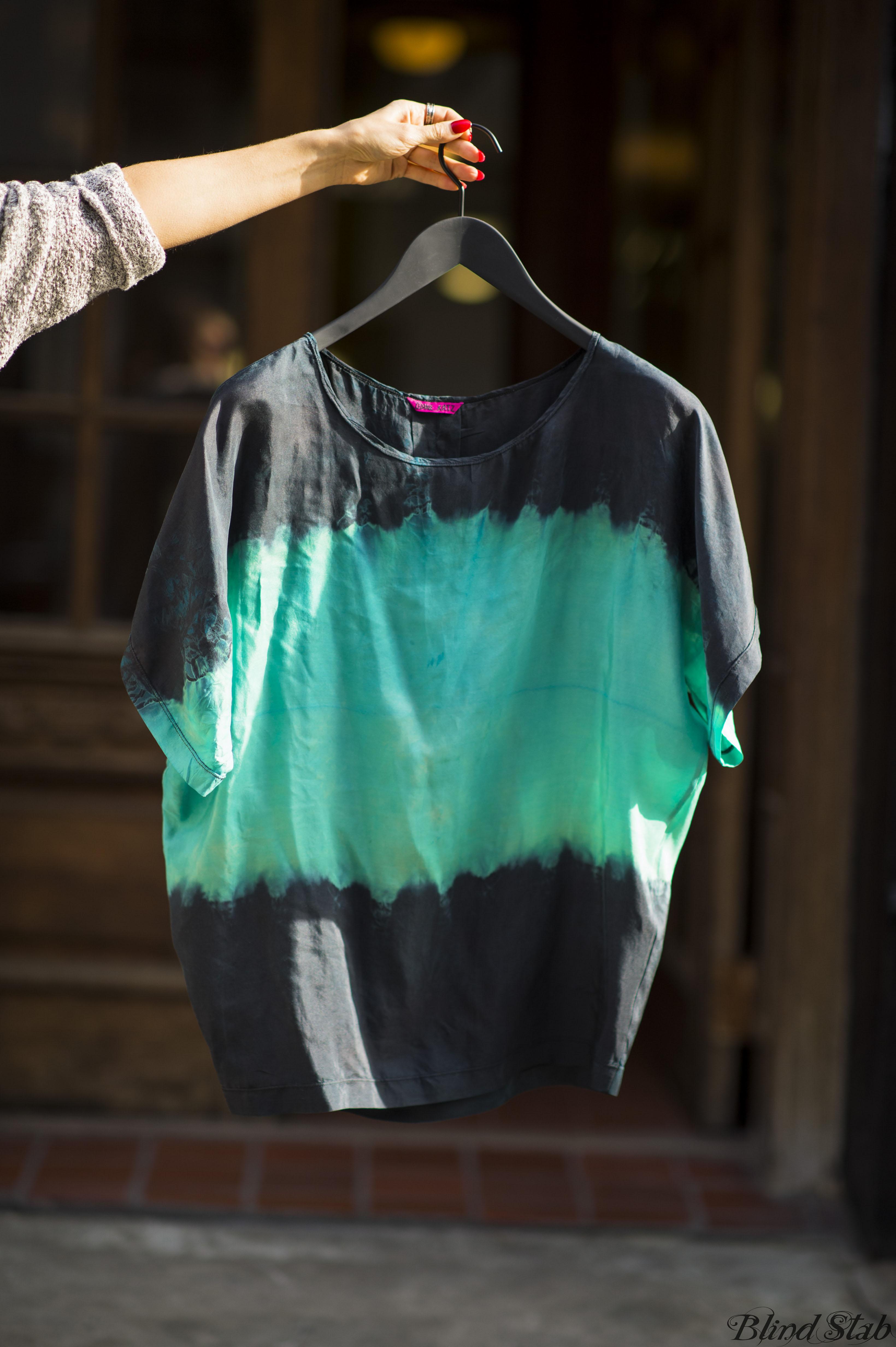 Blind Stab Dana Suchow Tie Dye Silk Blouse Top Shirt