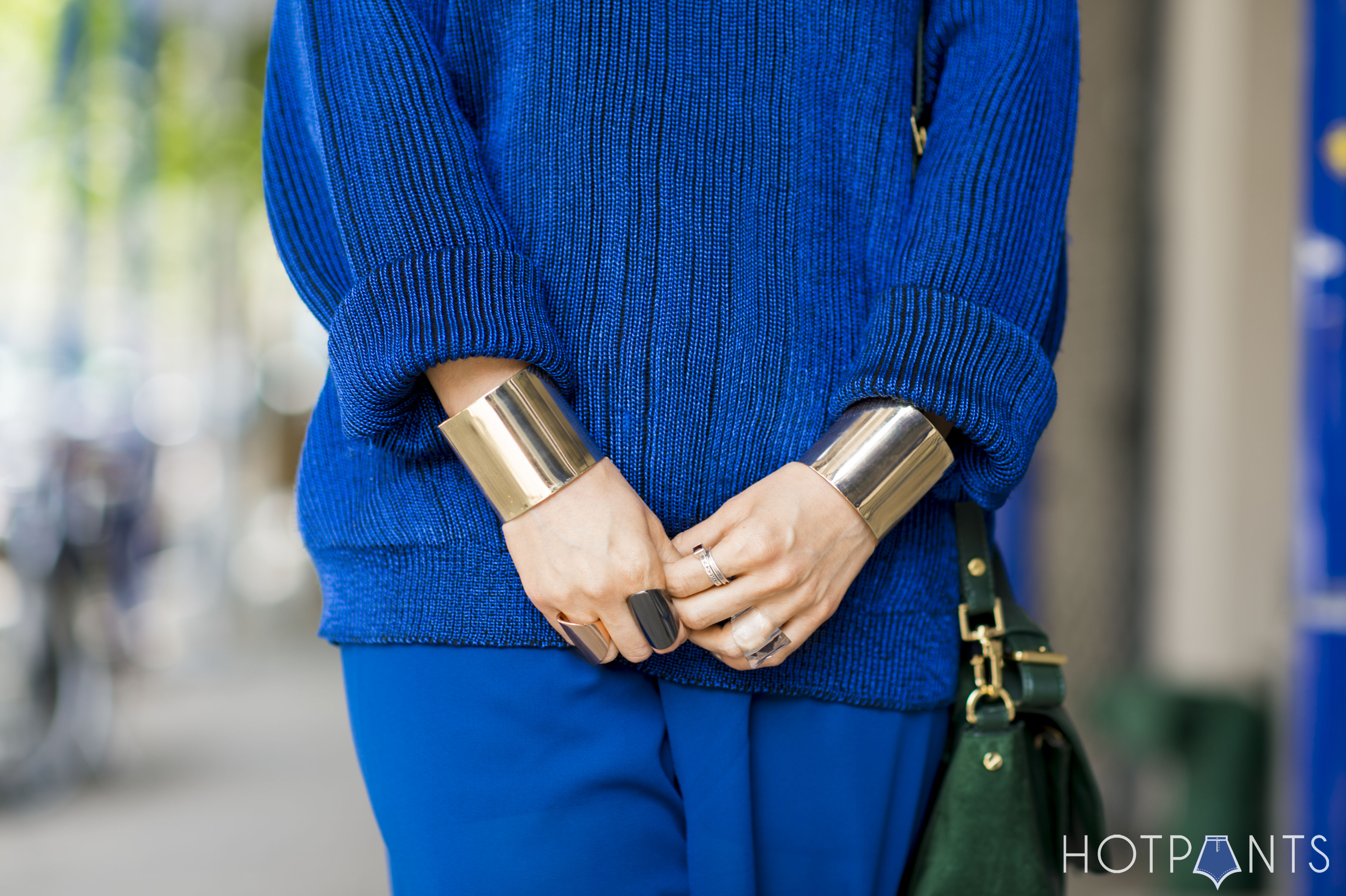 Gold Cuffs Vintage Blue Sweater Maxi Pants