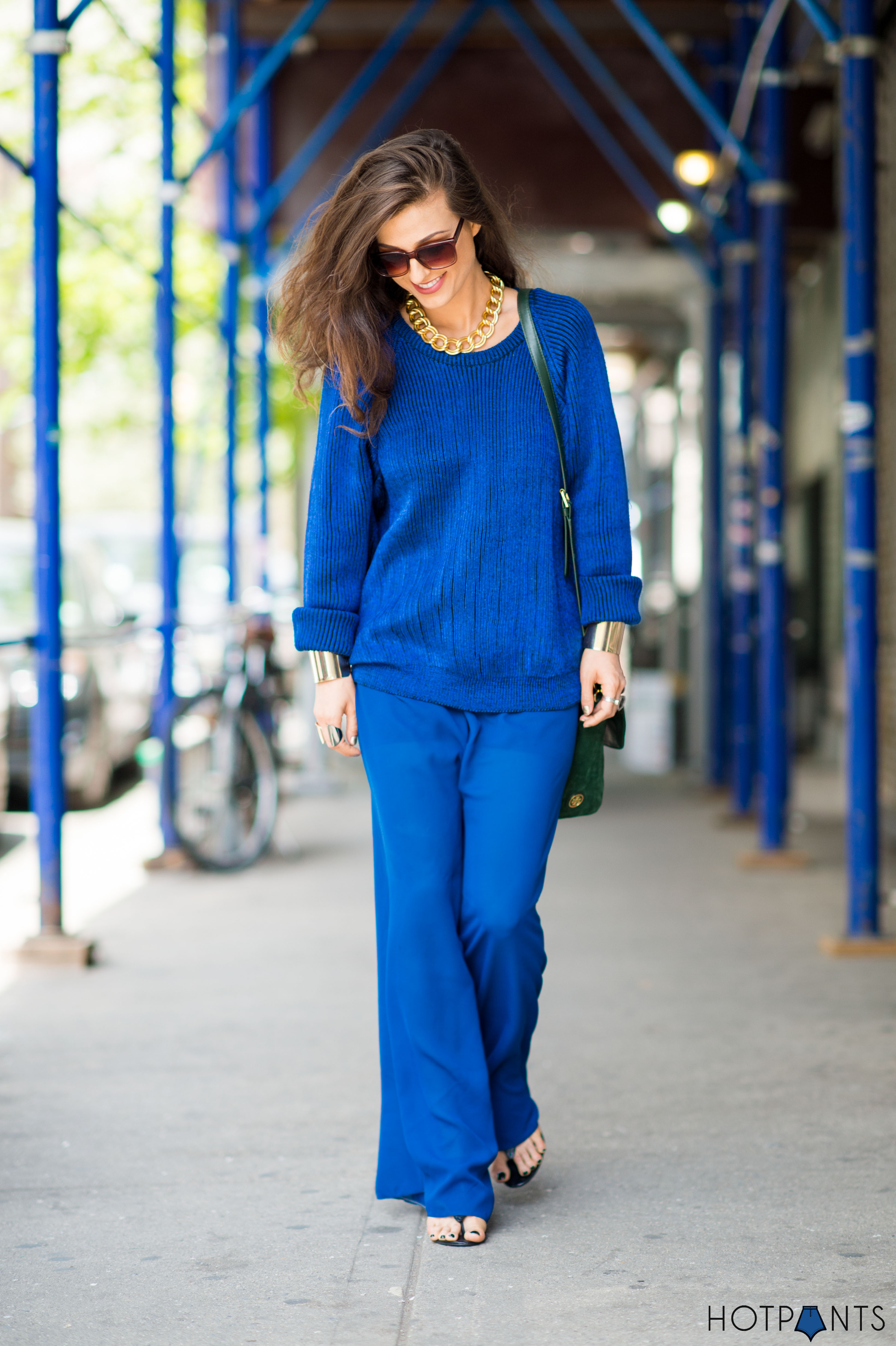 Gold Cuffs Vintage Blue Sweater Maxi Pants