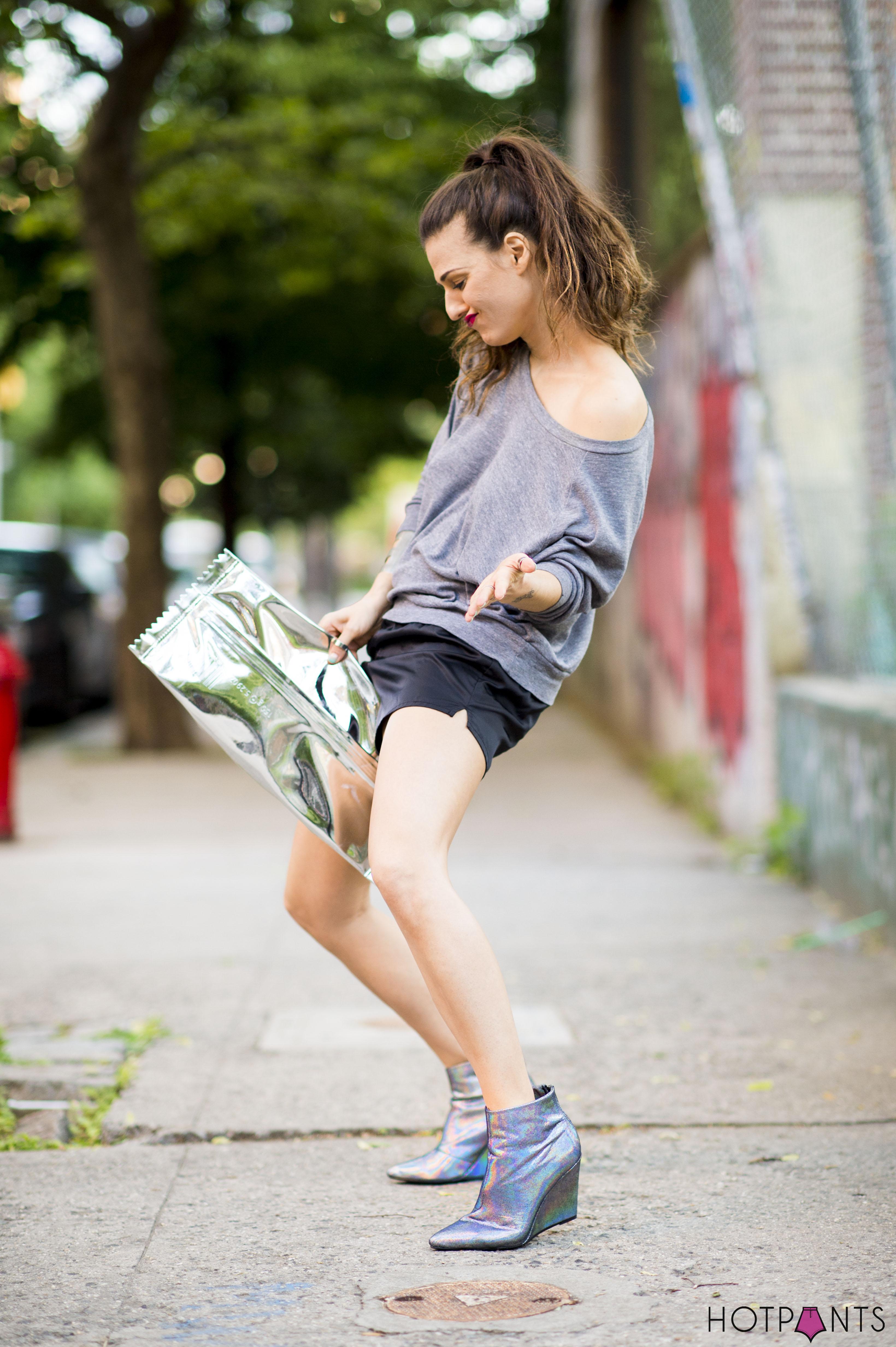 American Apparel Shorts Rainbow Heels Legs Bright Lipstick Streetstyle NYC