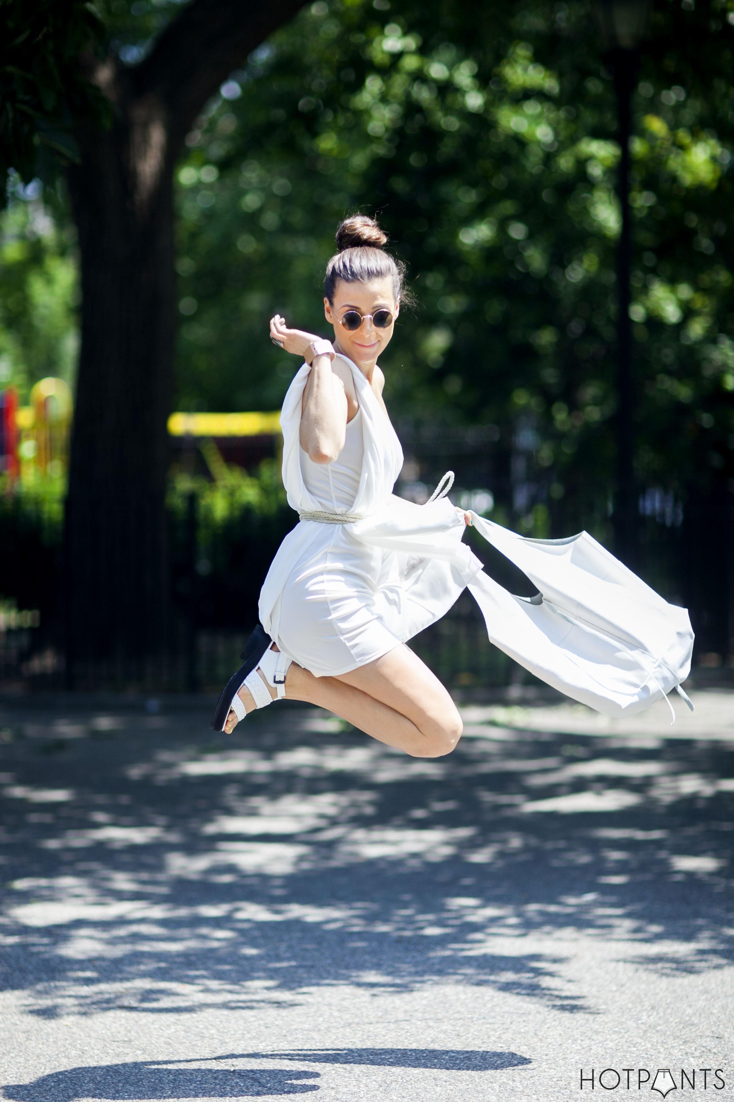 John Lennon Sunglasses Long Hair Updo Summer Dress Funny Jumping Girl