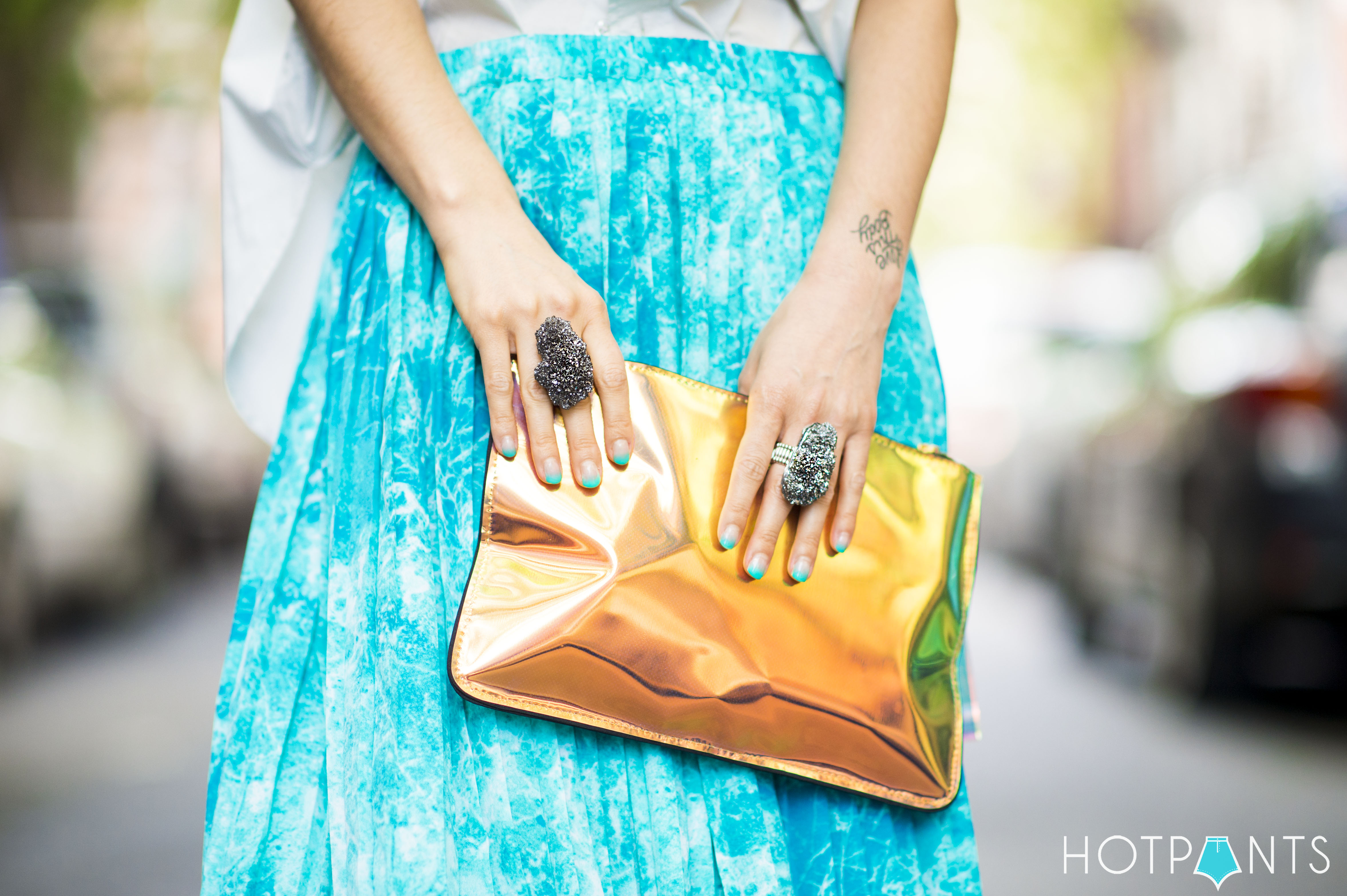 Teal Turquoise Tie Dye Maxi Skirt Spring NYC Streetstyle