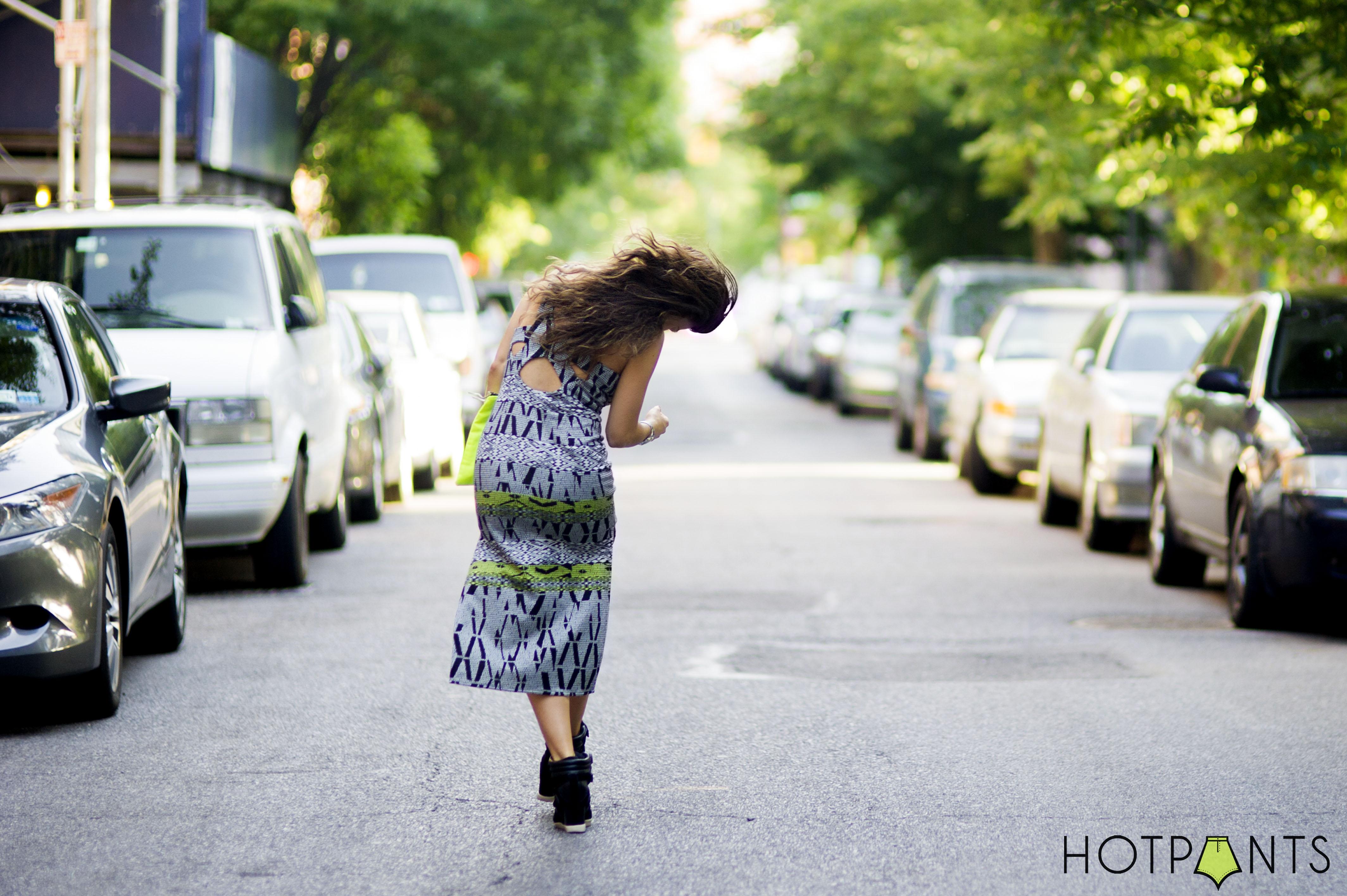 Tribal Pattern Body Conscious Curvy Dress Long Hair Blogger