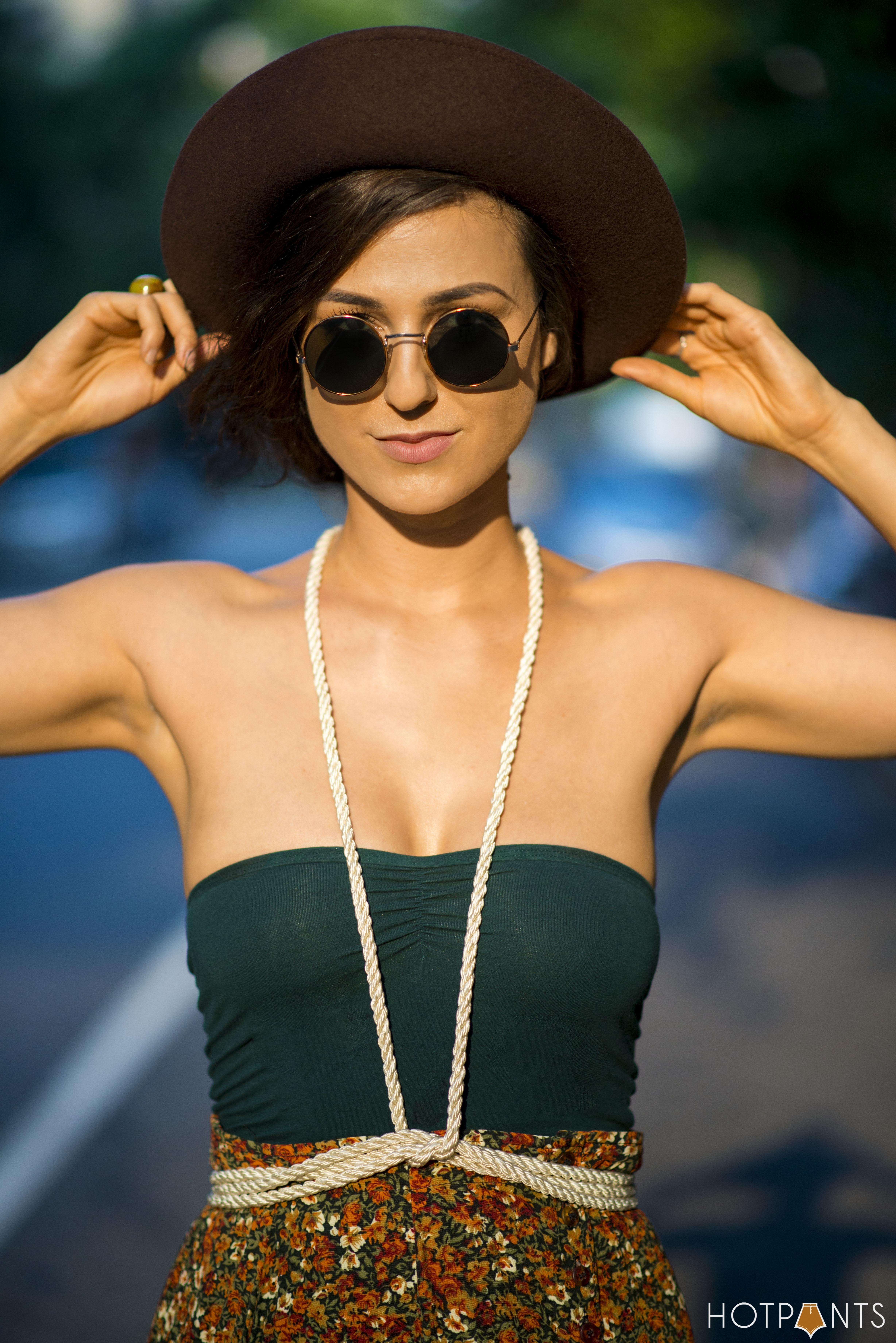 Rope Harness John Lennon Sunglasses Wide Brim Hat Summer Streetstyle