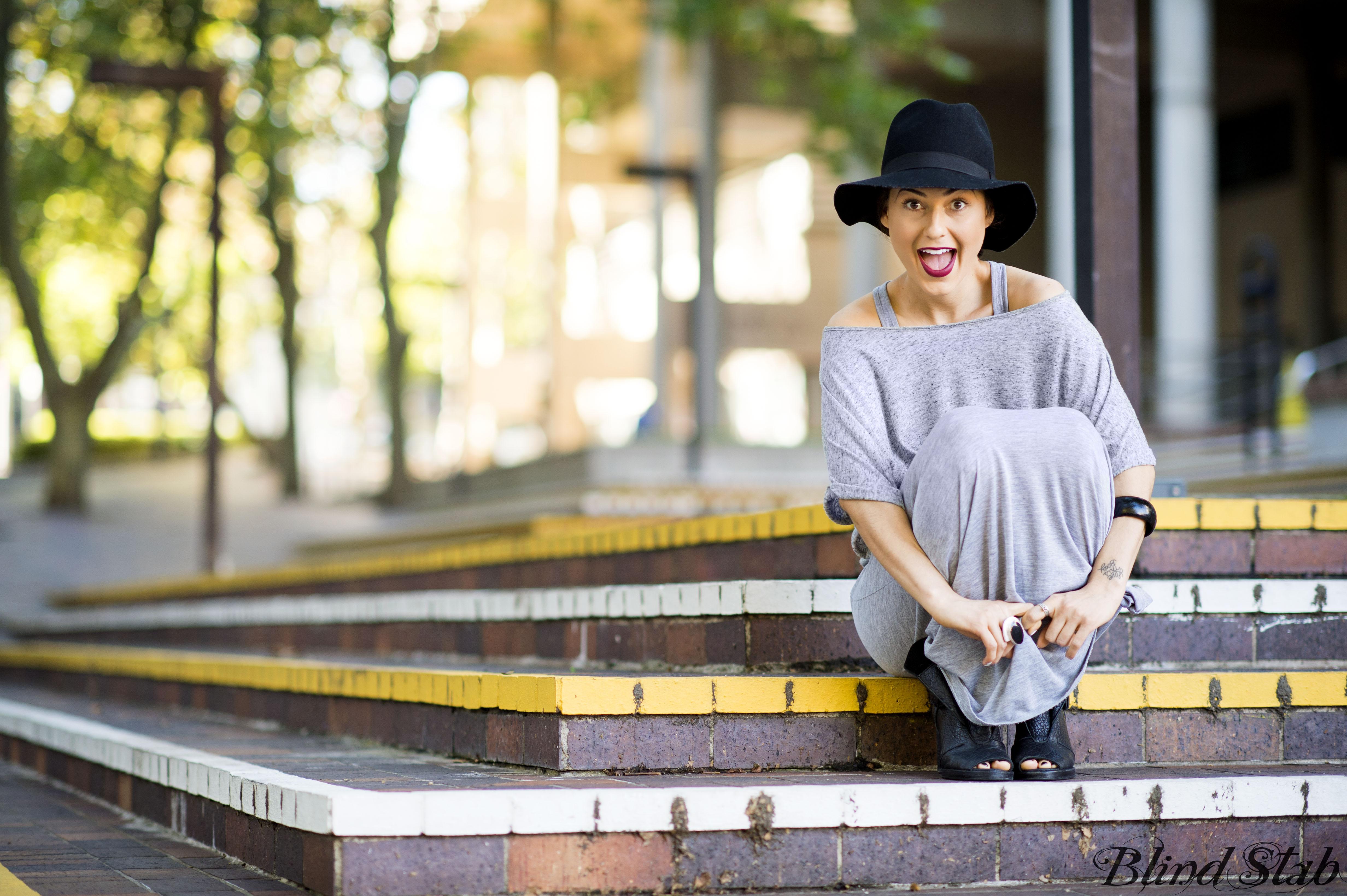 Blind Stab Dana Suchow Sydney Fashion Week Spring Black Wide Brim Hat 11