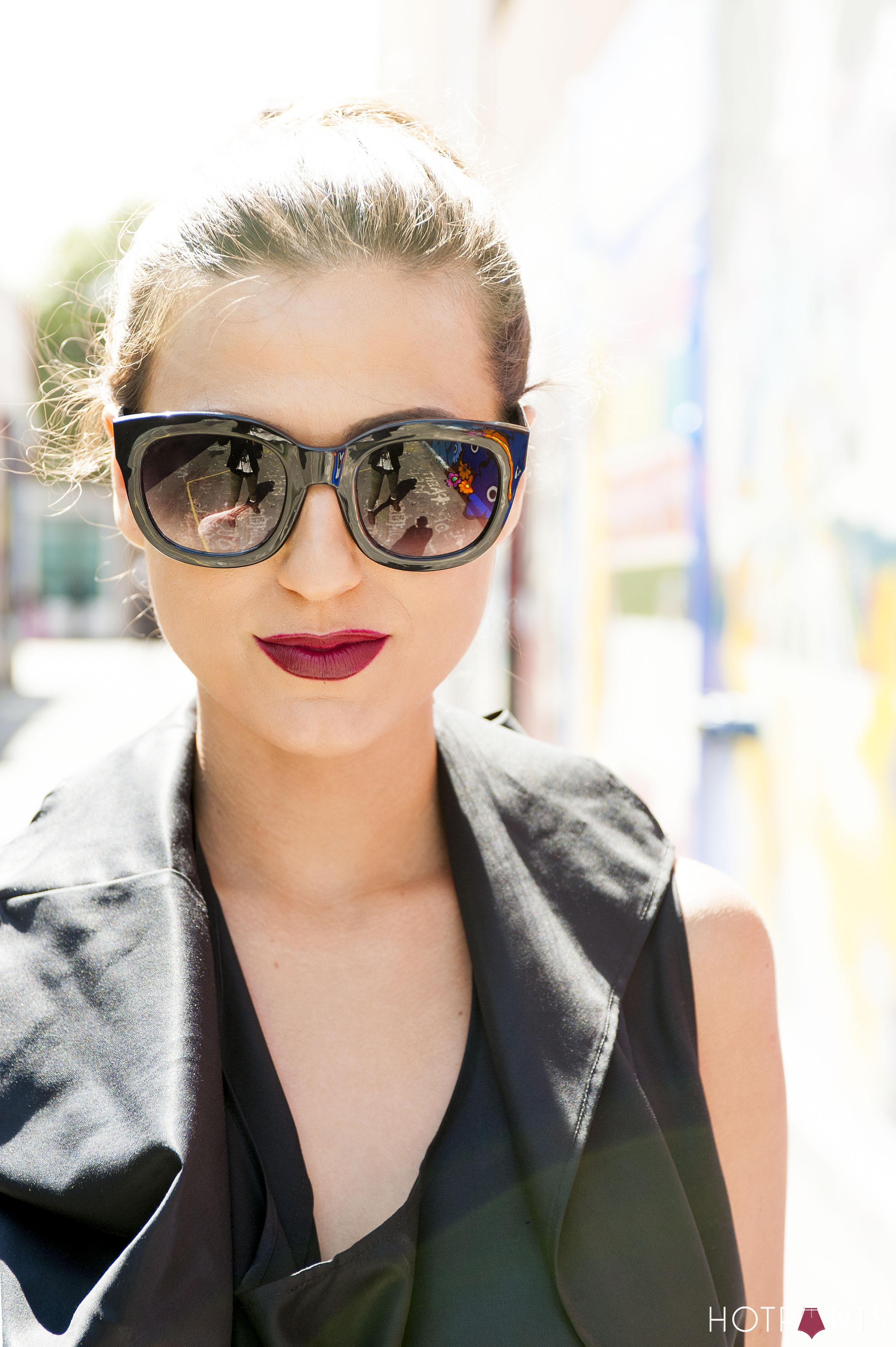 Goth Blogger San Francisco Oversize Sunglasses MAC Diva Lipstick