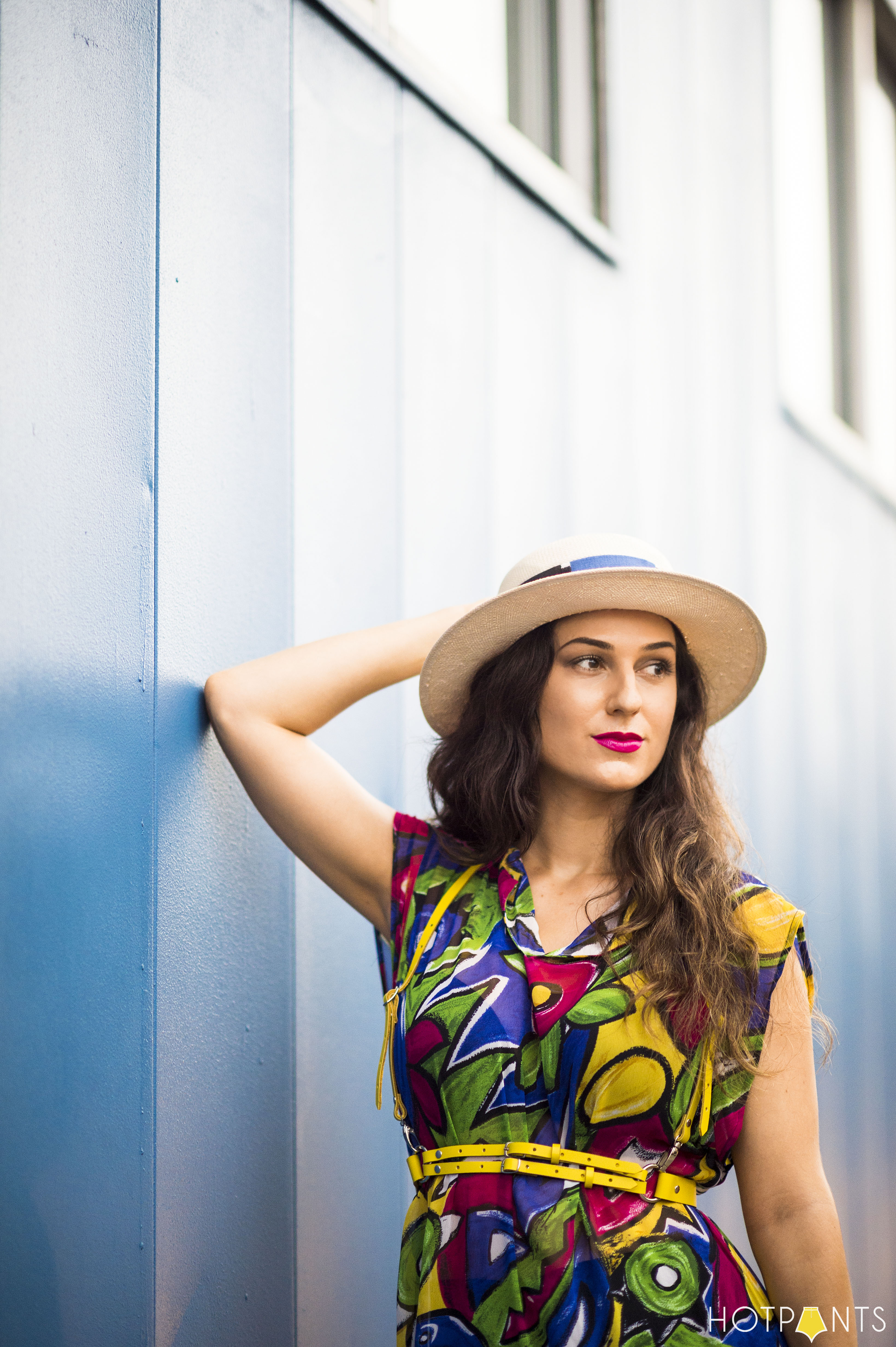 Tropical Long Sheer Skirt Bike Shorts Wide Brim Hat