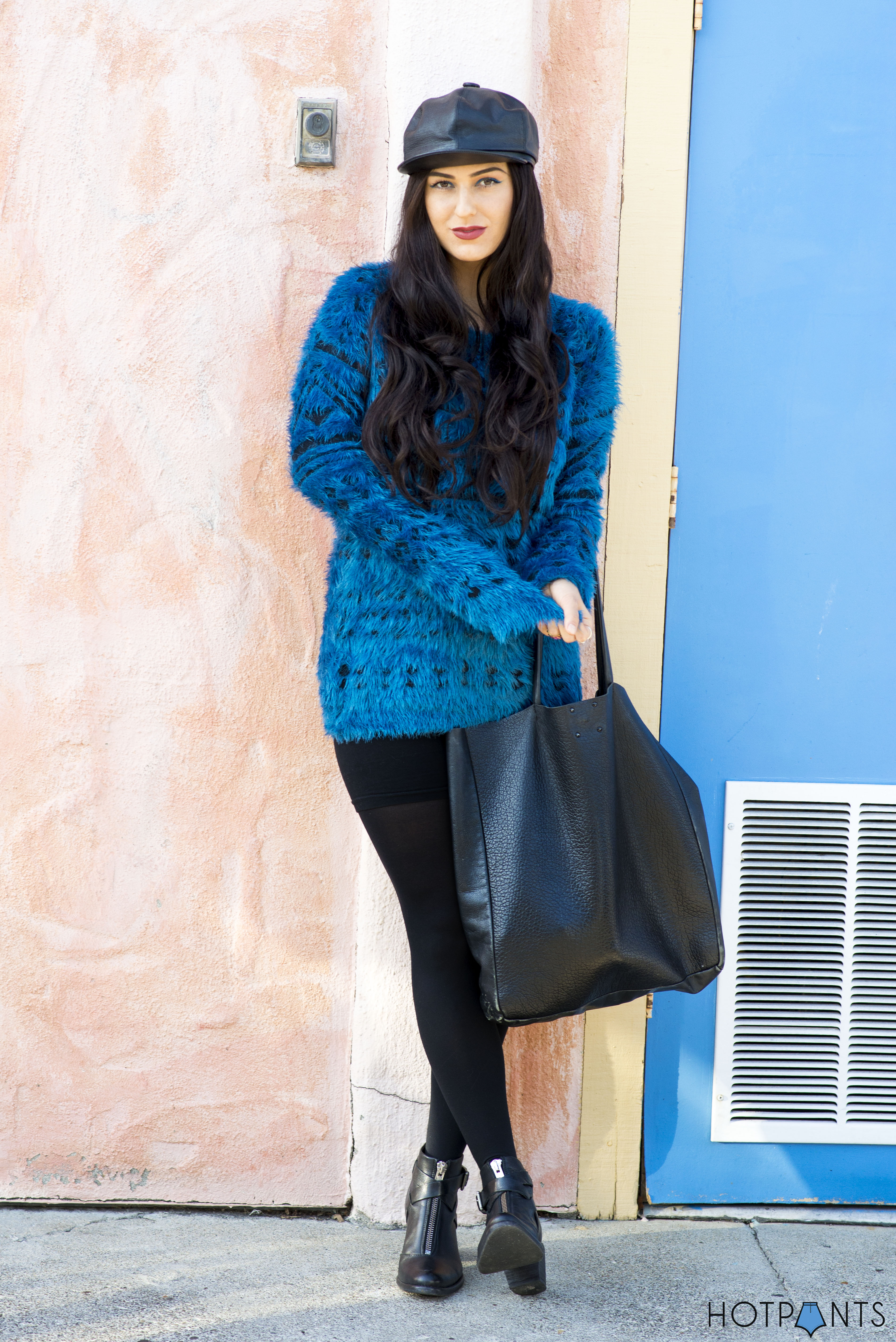 Do The Hotpants Dana Suchow Leather Hat Blue Furry Sweater Cookie Monster Muppet Costume 1