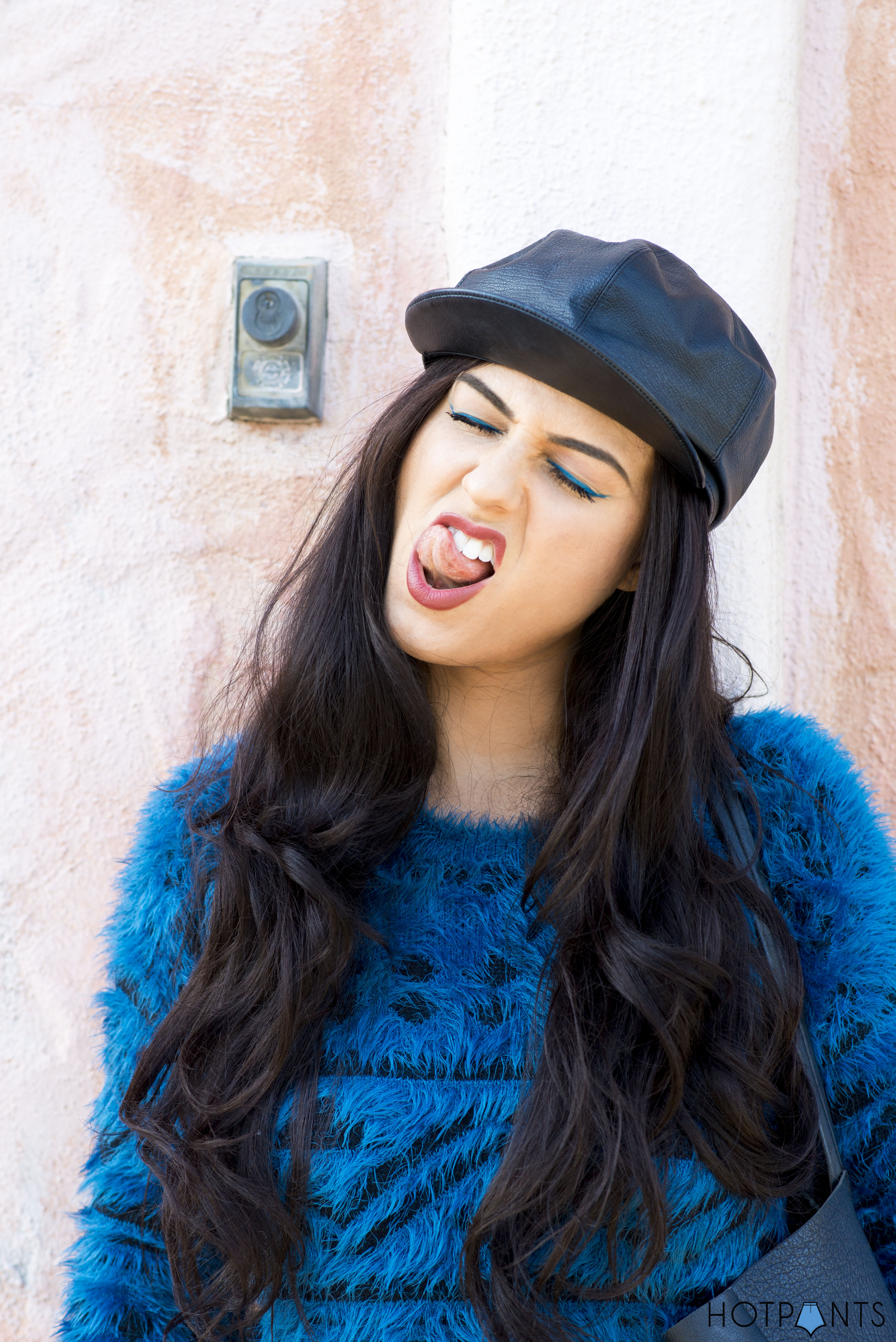 Do The Hotpants Dana Suchow Leather Hat Blue Furry Sweater Cookie Monster Muppet Costume 17
