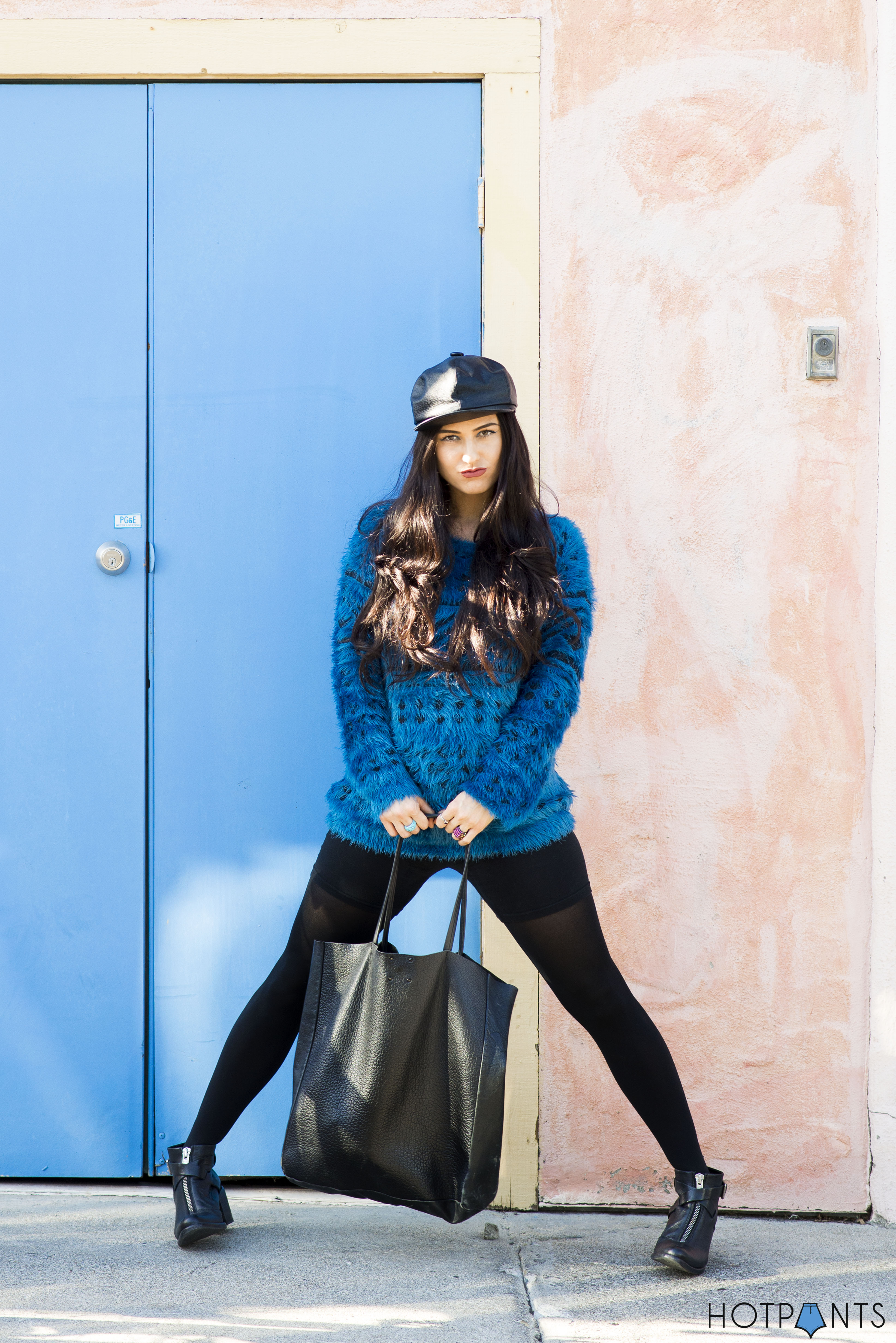 Do The Hotpants Dana Suchow Leather Hat Blue Furry Sweater Cookie Monster Muppet Costume 18