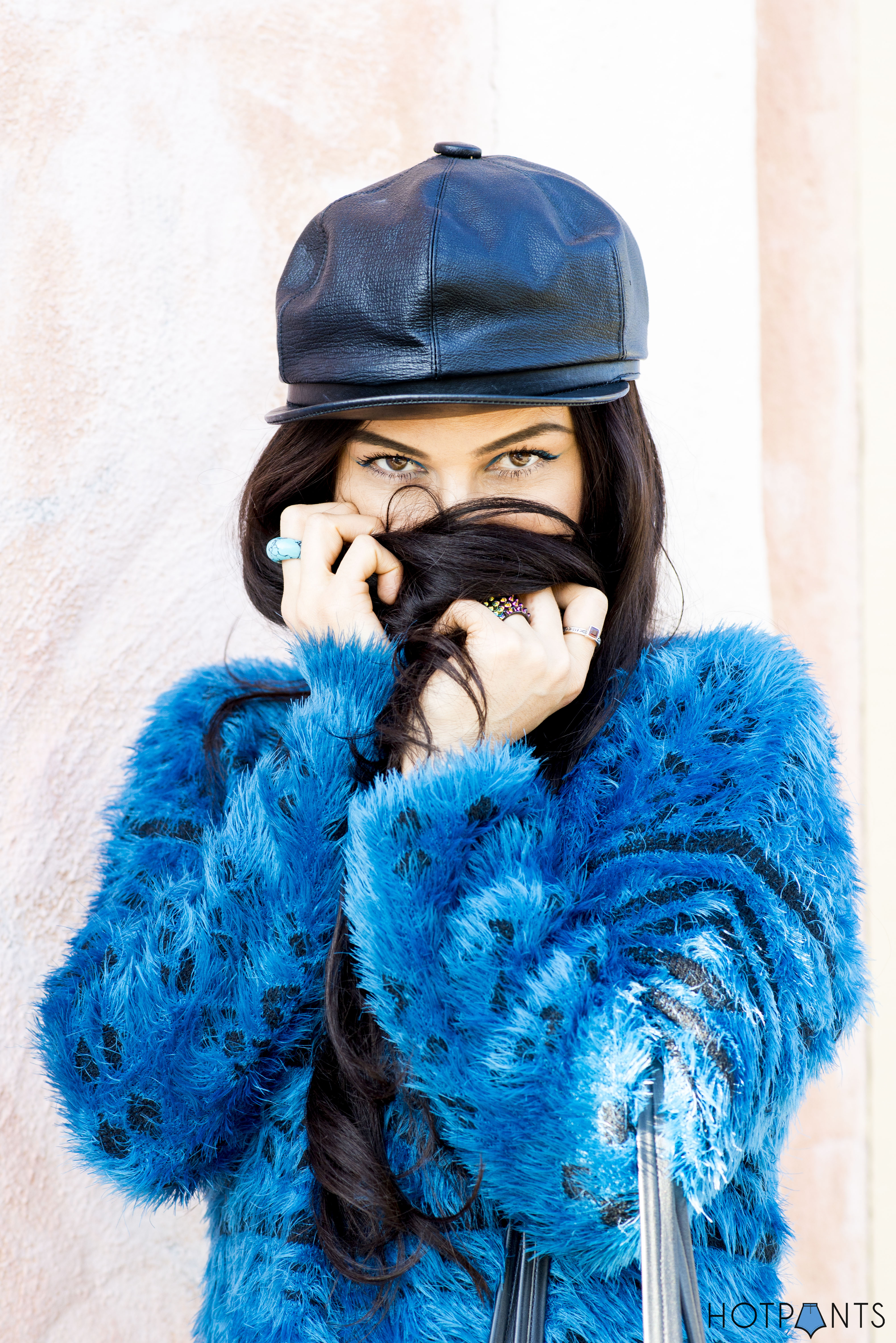 Do The Hotpants Dana Suchow Leather Hat Blue Furry Sweater Cookie Monster Muppet Costume 19