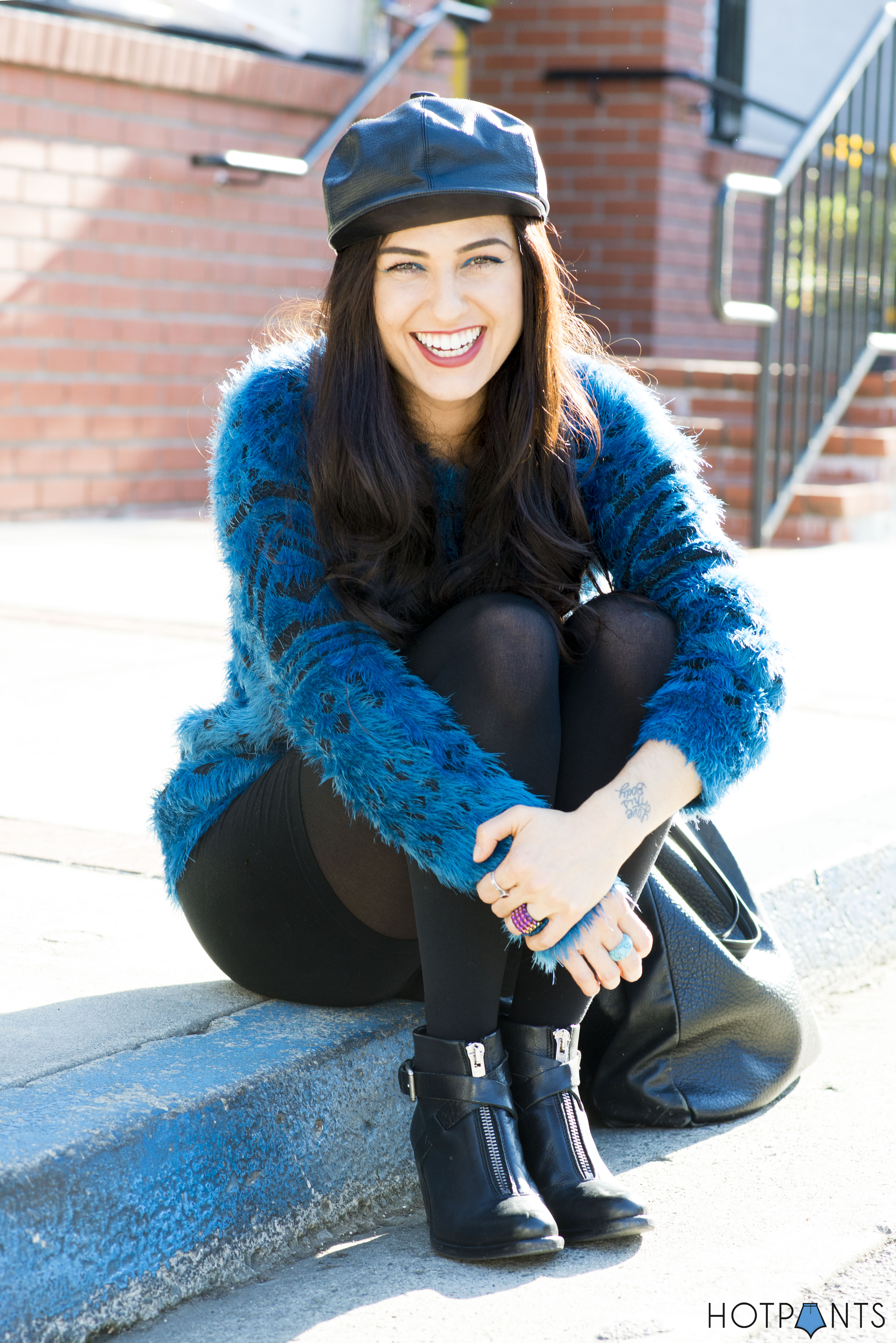 Do The Hotpants Dana Suchow Leather Hat Blue Furry Sweater Cookie Monster Muppet Costume 3