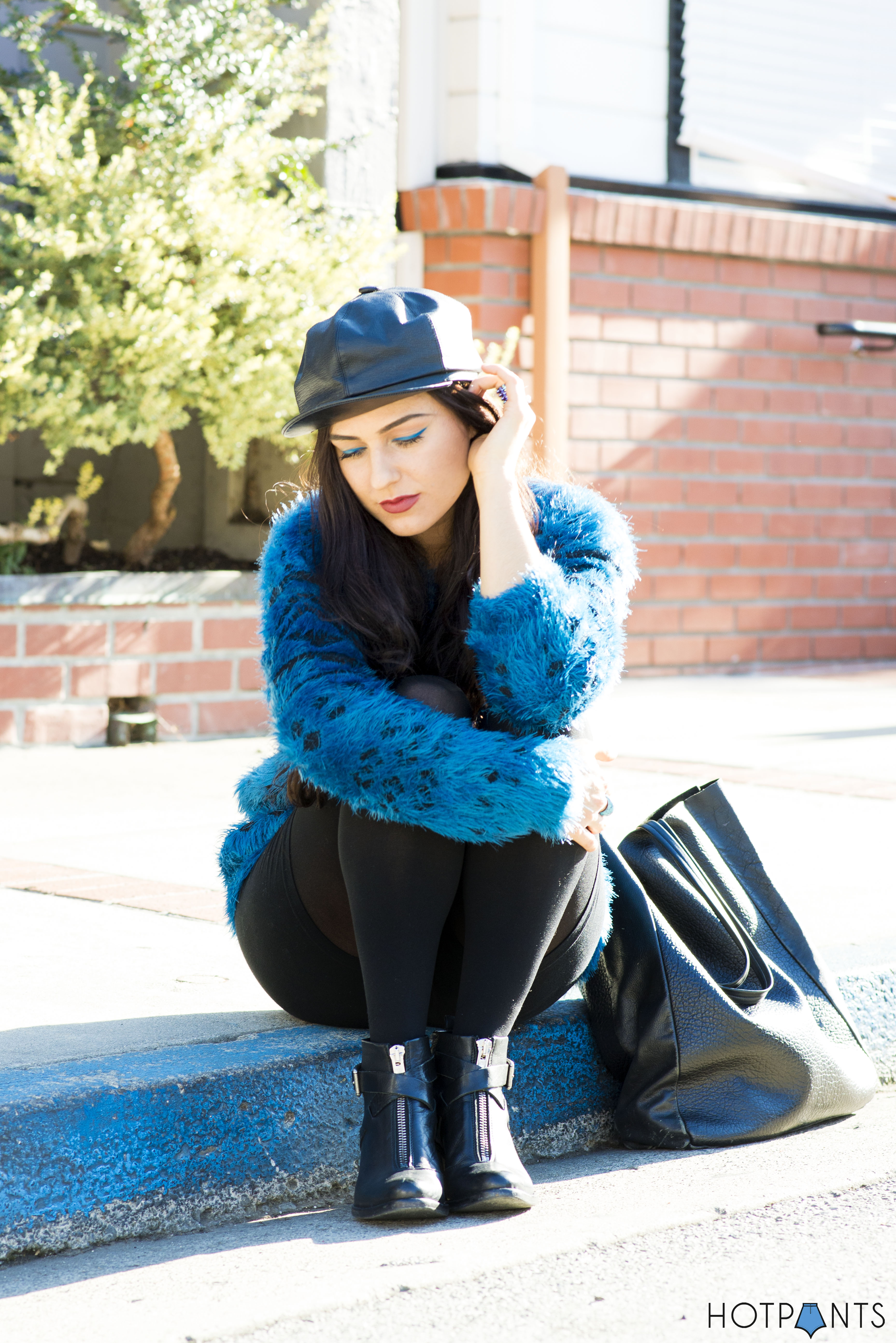 Do The Hotpants Dana Suchow Leather Hat Blue Furry Sweater Cookie Monster Muppet Costume 6