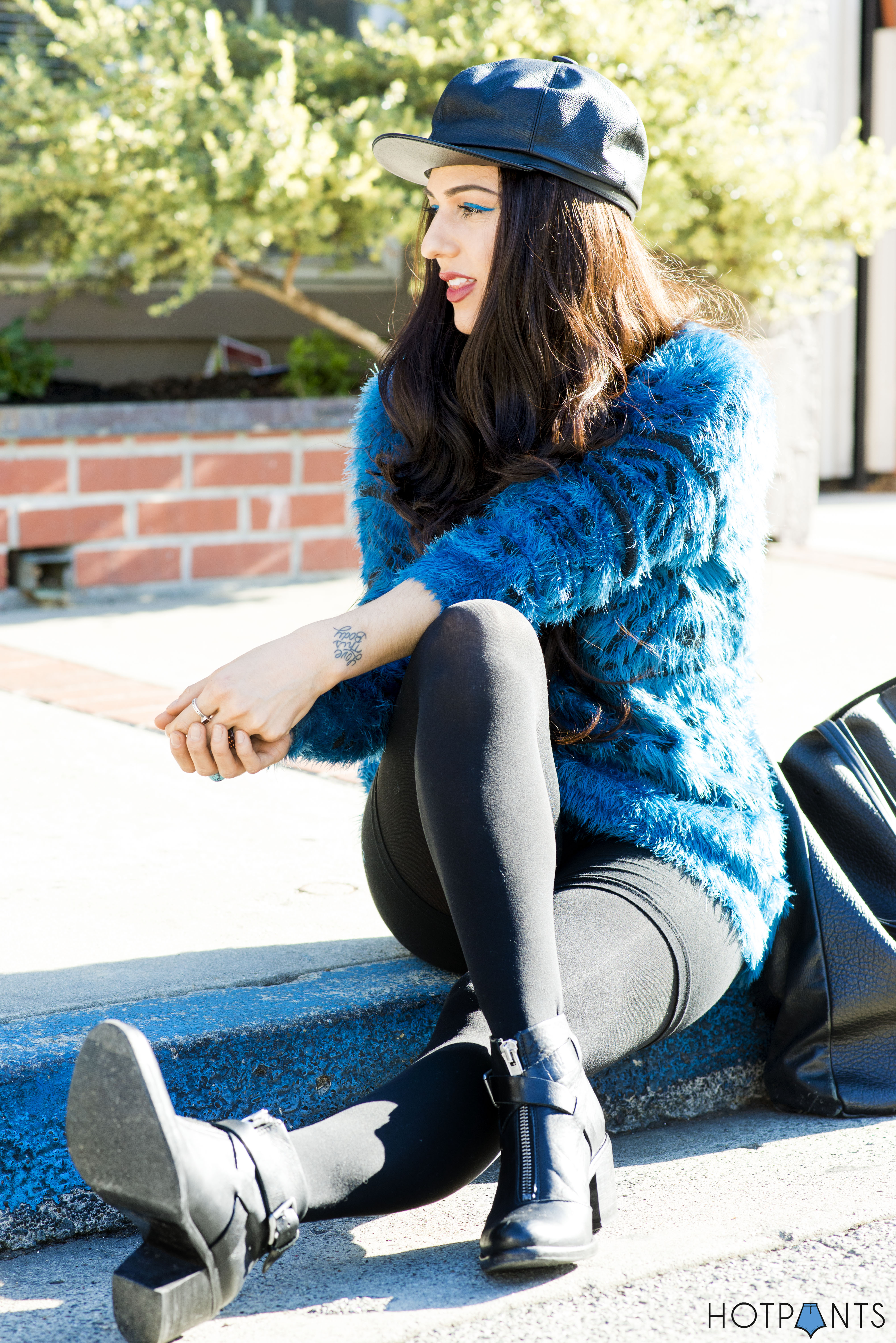Do The Hotpants Dana Suchow Leather Hat Blue Furry Sweater Cookie Monster Muppet Costume 7