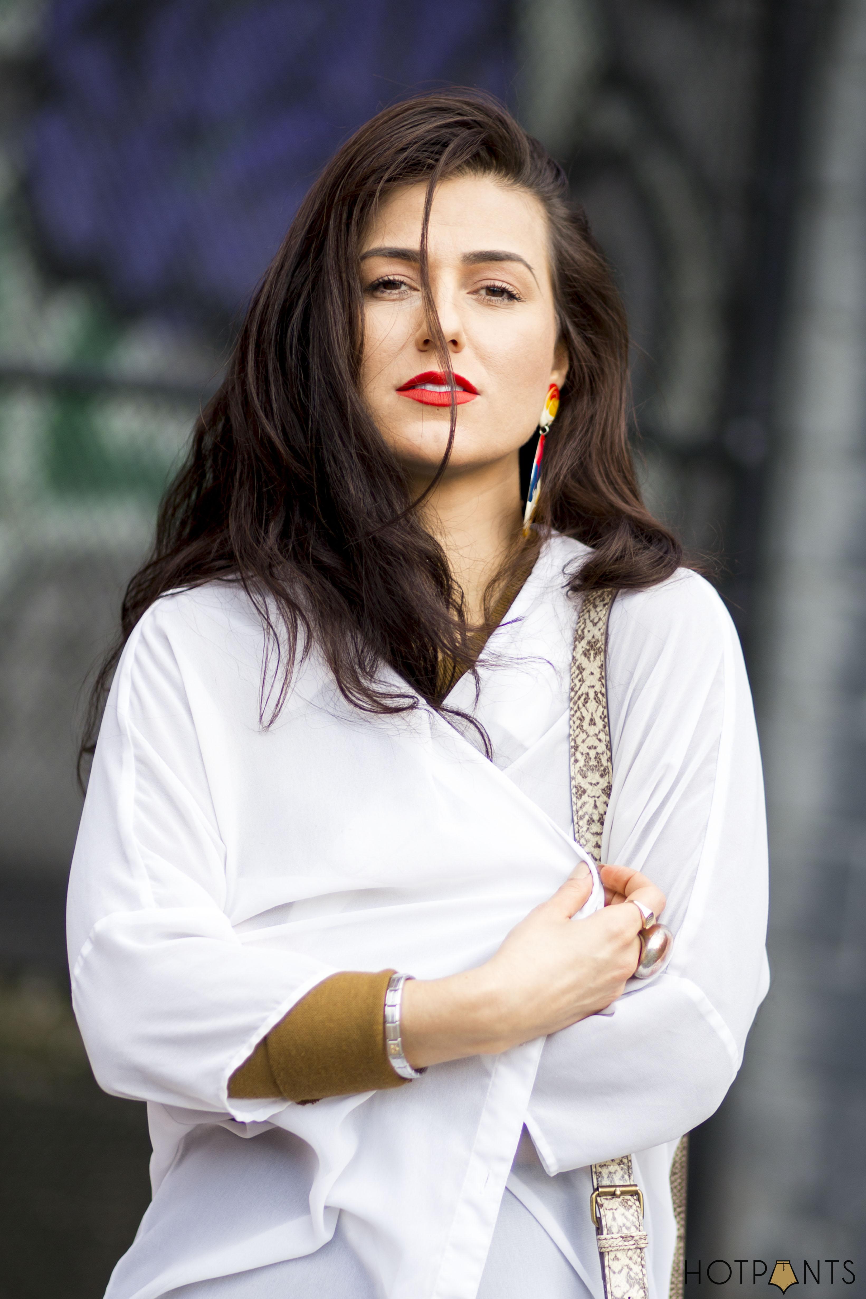Long Hair Blogger MAC Lady Danger Red Lipstick Wood Platform Heels Wedge