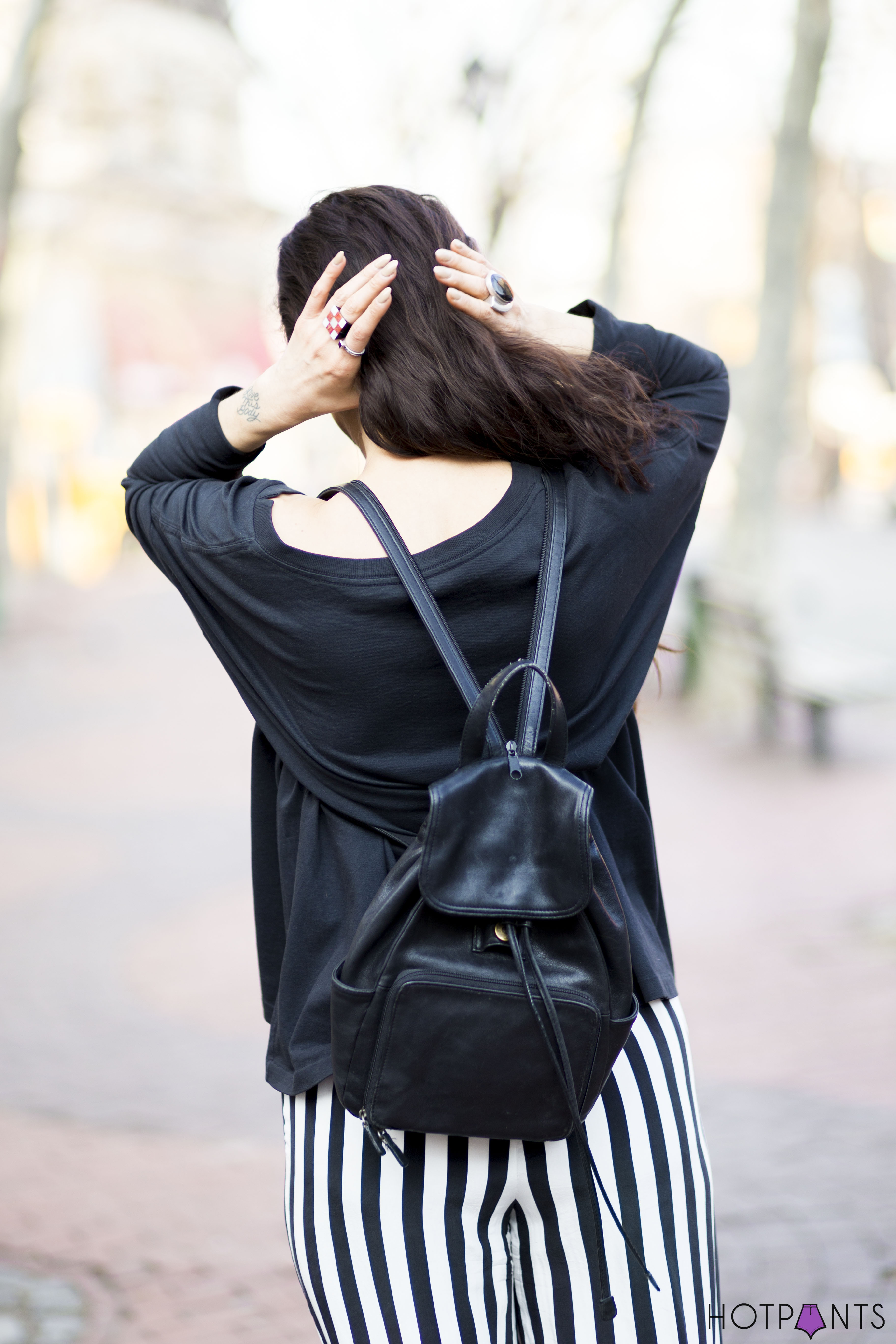 Long Brown Hair Blogger Leather Backpack