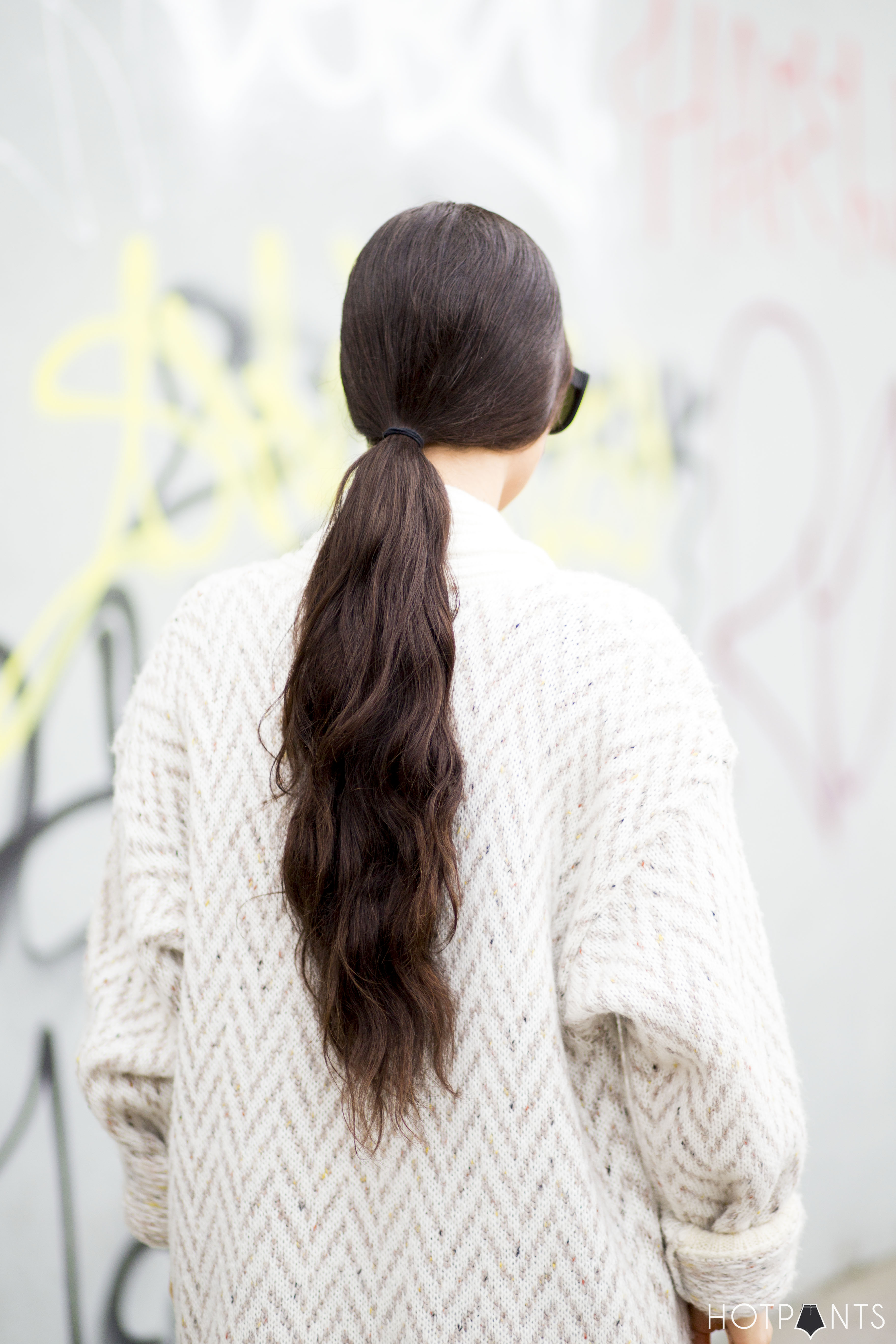 Middle Part Long Wavy Hair Oversize Vintage Sweater Dress
