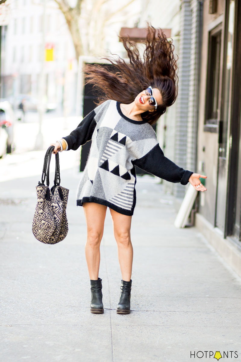 Black Heels Ankle Boots Art Deco Sweater Dress