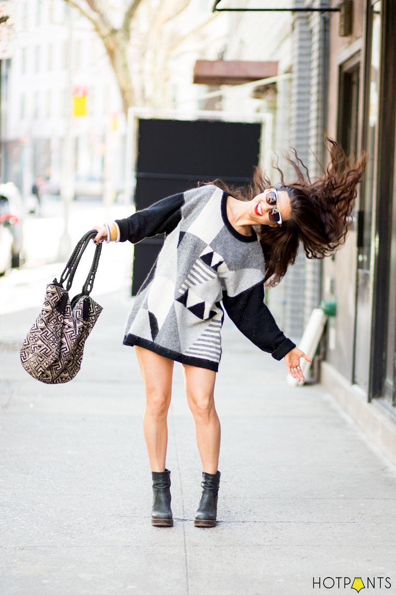 Black Heels Ankle Boots Art Deco Sweater Dress