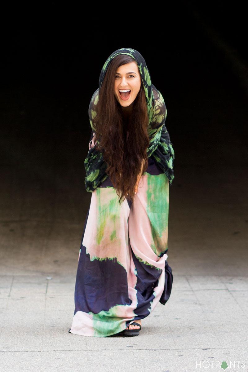 Diane Katz Designs Brooke Coleman Maxi Dress Long Wavy Brown Hair Neutral Lipstick MAC Taupe