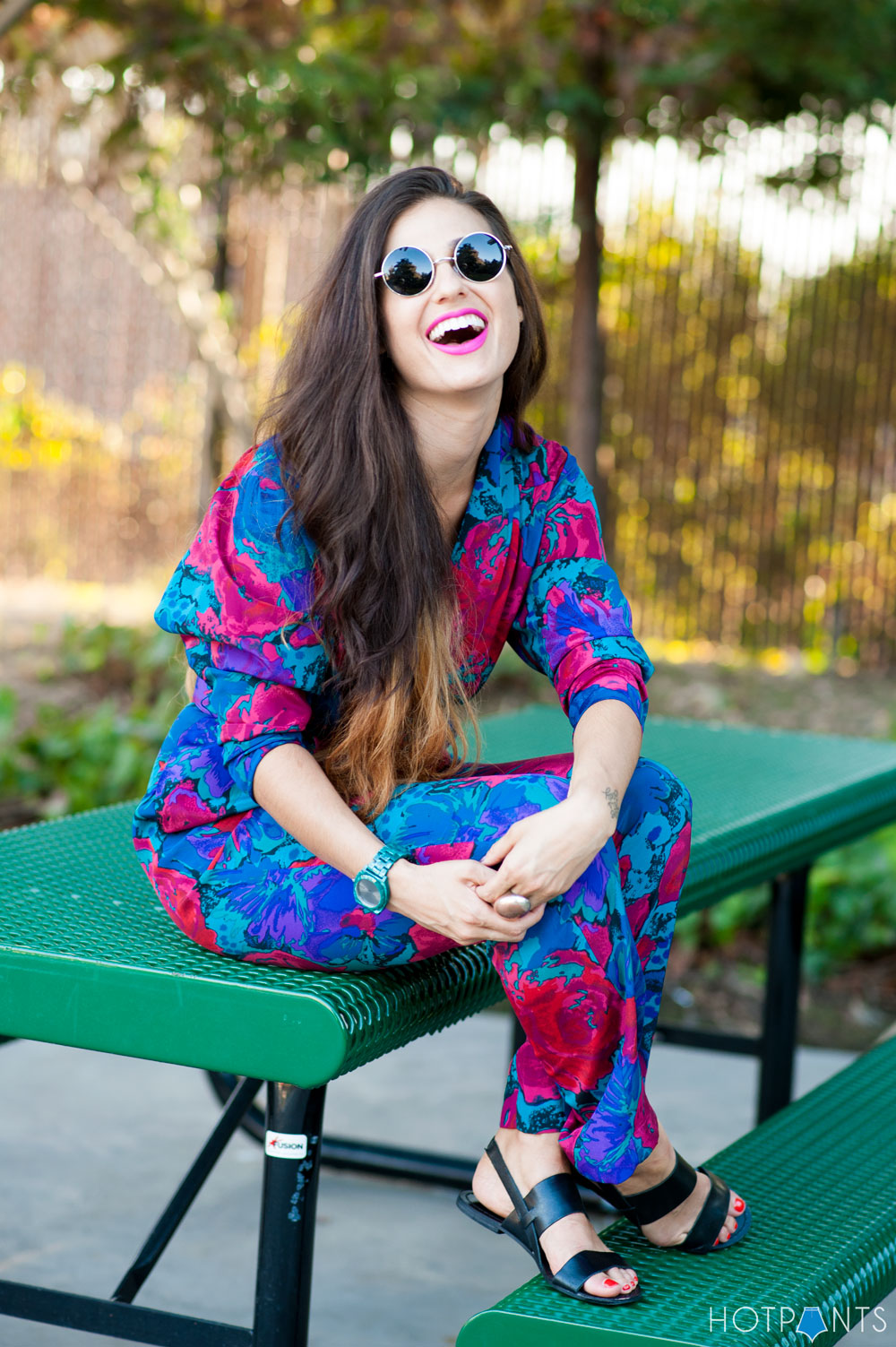 Do The Hotpants Dana Suchow California Girl Pool Pink Lipstick Floral Jumpsuit 8