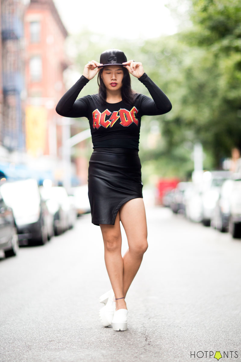 Beautiful Asian Woman Model MAC Lipstick Baseball Hat ACDC Rock Shirt