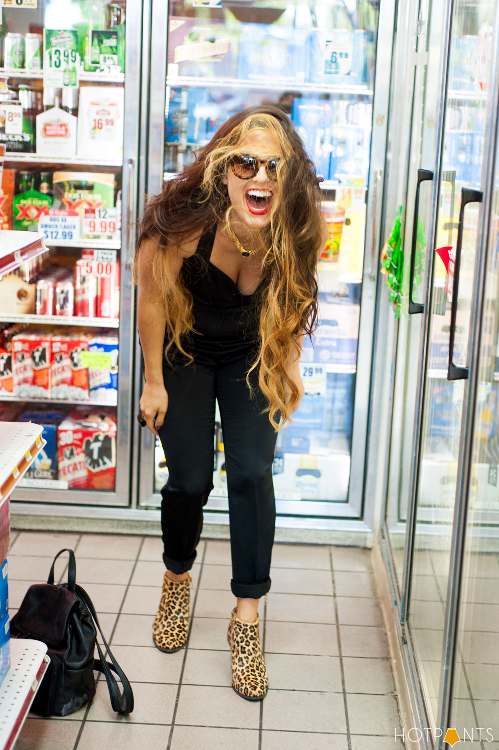 Girl Woman Funny Bodega Liquor Store Red Lipstick Leopard Print Sunglasses