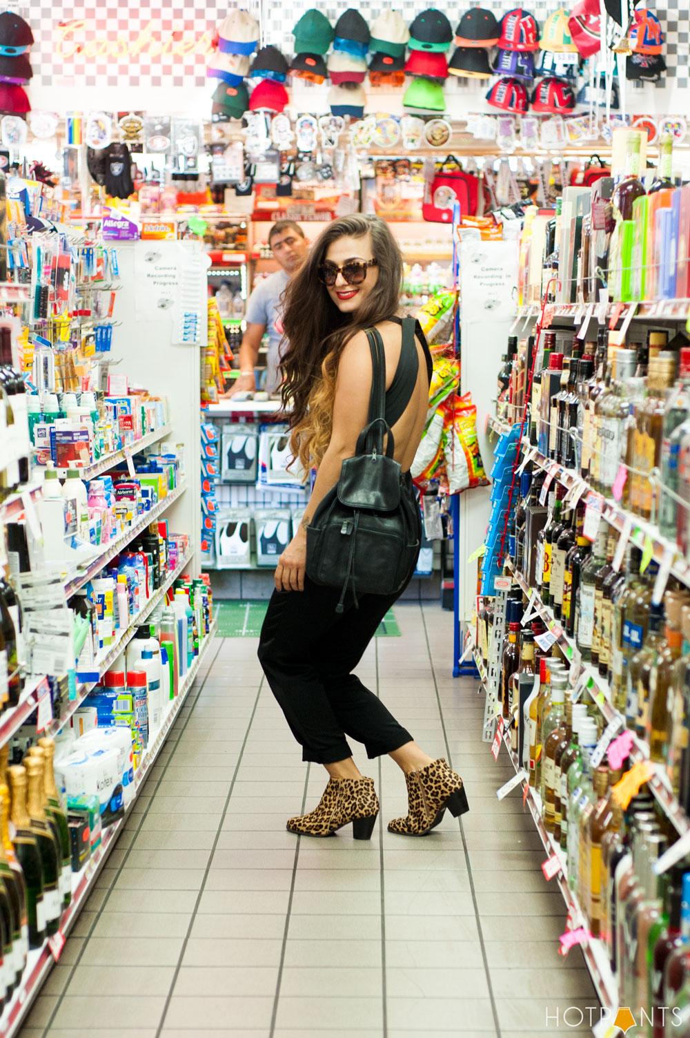 Girl Woman Funny Bodega Liquor Store Red Lipstick Leopard Print Sunglasses
