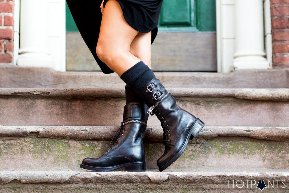 Flat Army Goth Knee High Mid Calf Industrial Boots Nude Lips Lipstick