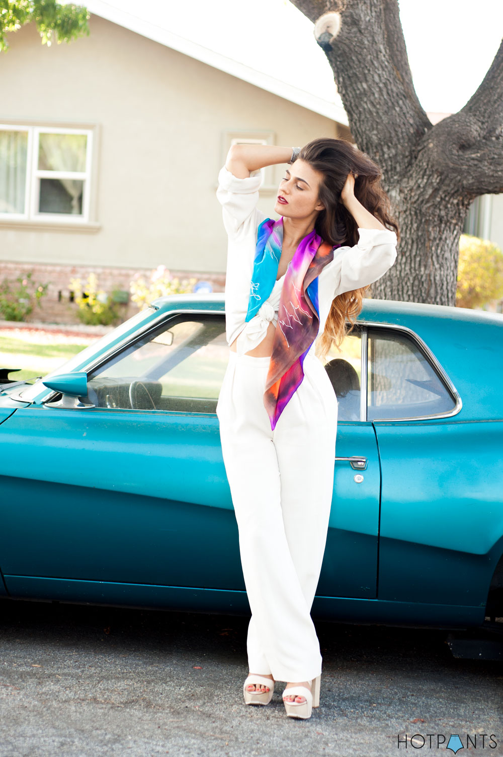 Girl Woman San Jose California Standing With In Front Of Vintage Mercury Cougar