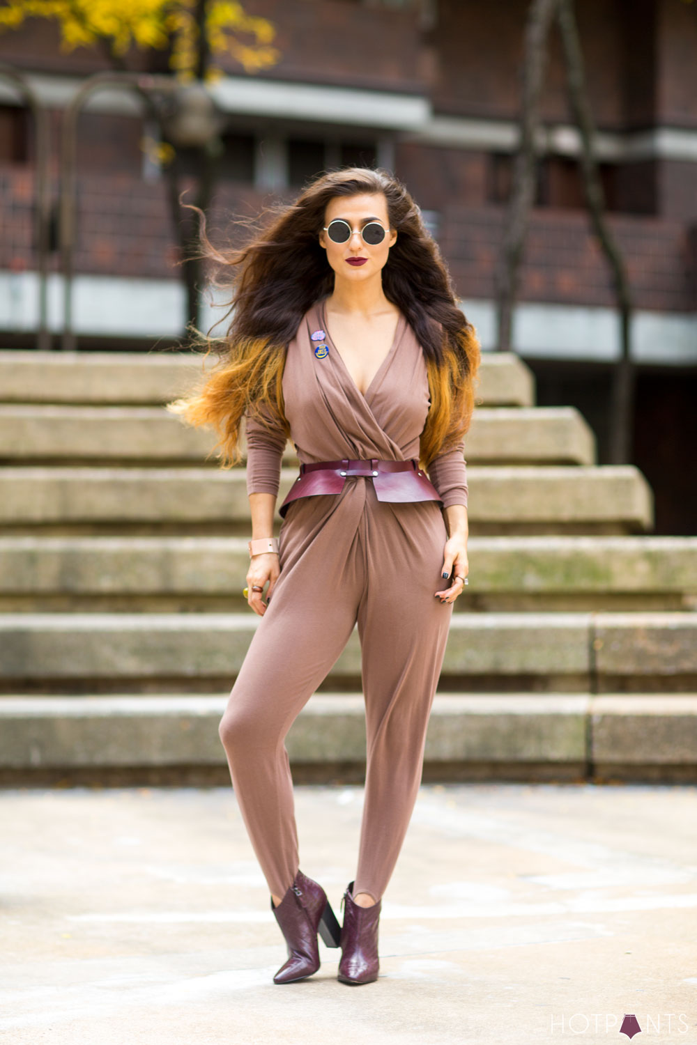 Healthy Girl Woman John Lennon Round Sunglasses Tan Nude Vintage Jumpsuit Ombre Hair