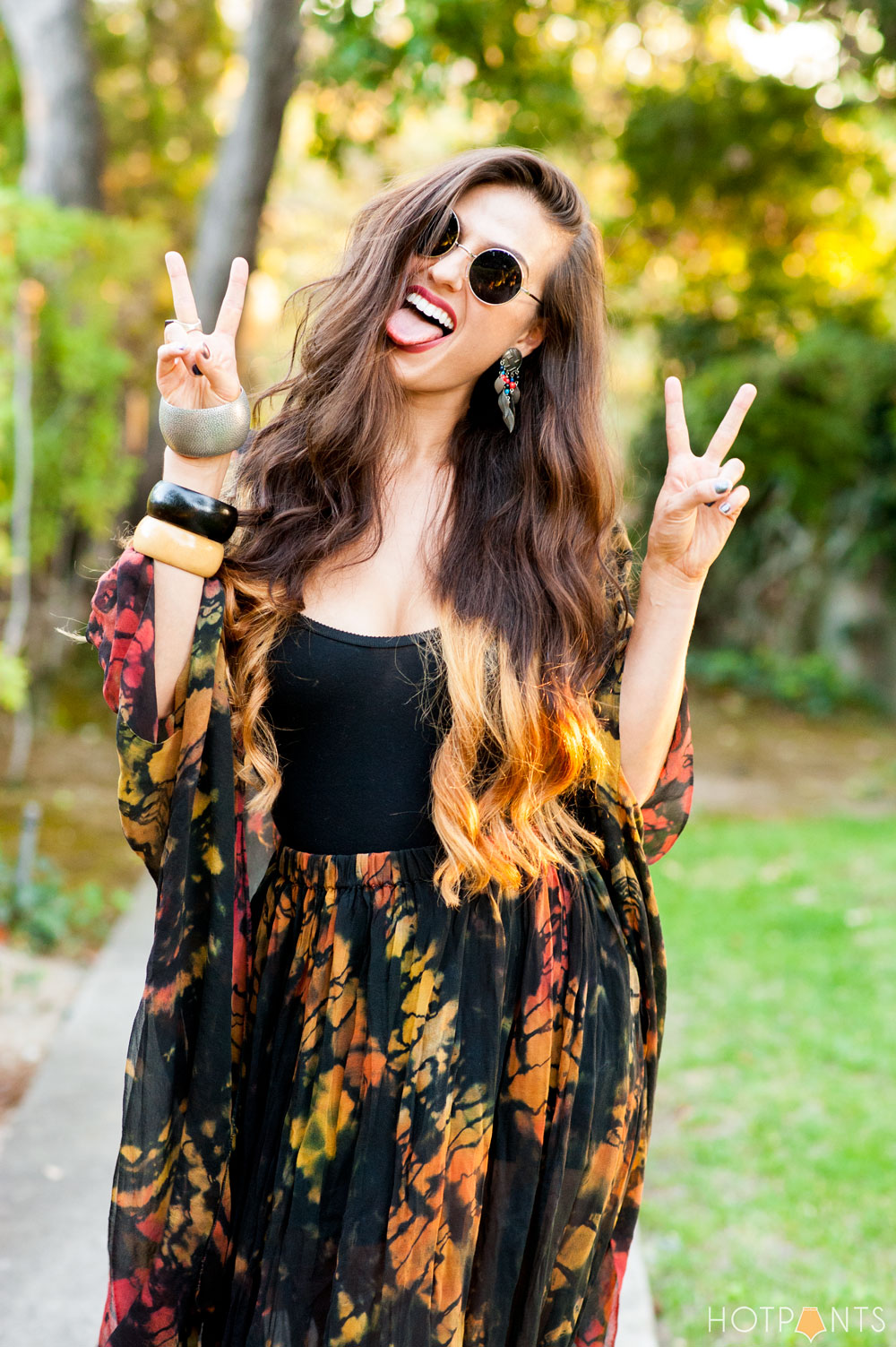 Funny Girl Long Wavy Ombre Bleached Hair John Lennon Round Sunglasses Sheer Clothes Outfit