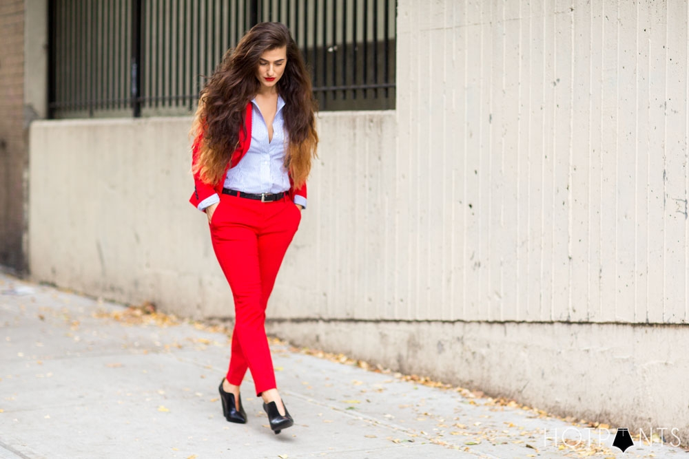 Do The Hotpants Dana Suchow Red Suit Womens Pantsuit Blazer Work Outfit Fashion 18