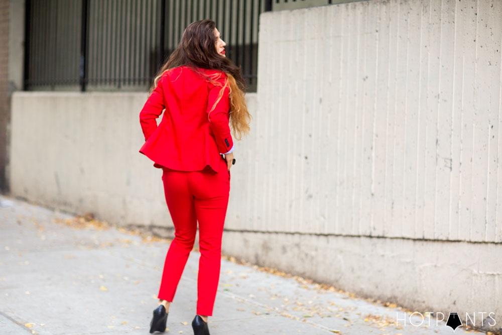 Do The Hotpants Dana Suchow Red Suit Womens Pantsuit Blazer Work Outfit Fashion 19