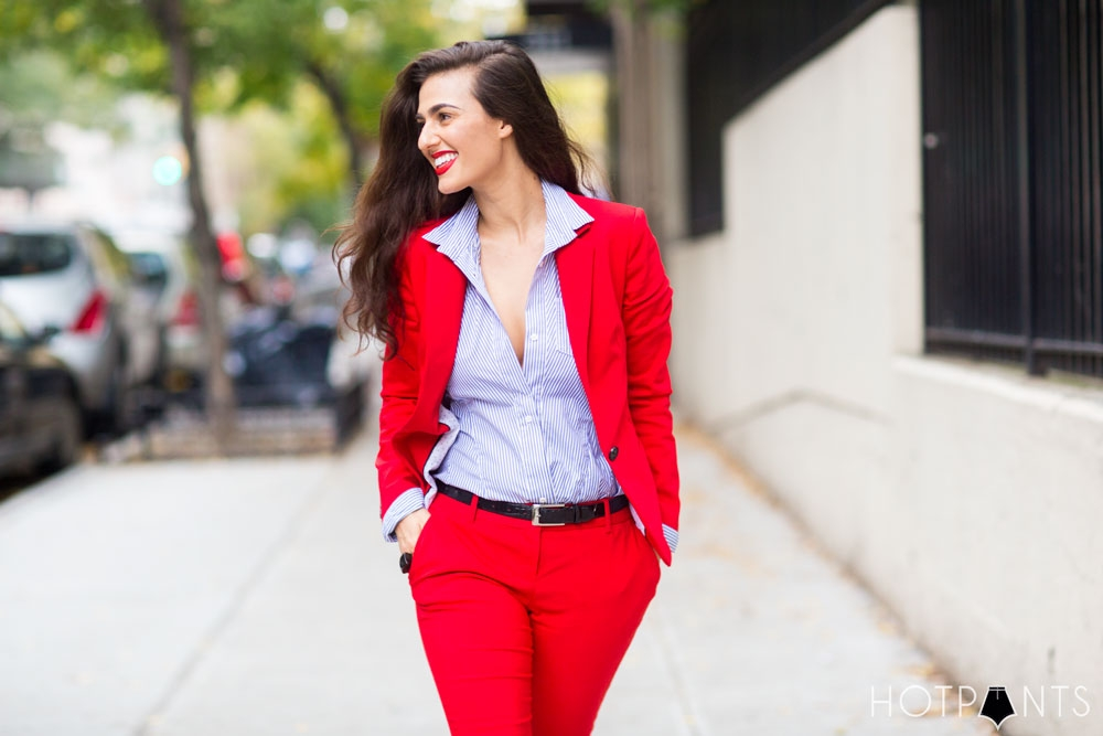 Do The Hotpants Dana Suchow Red Suit Womens Pantsuit Blazer Work Outfit Fashion 21