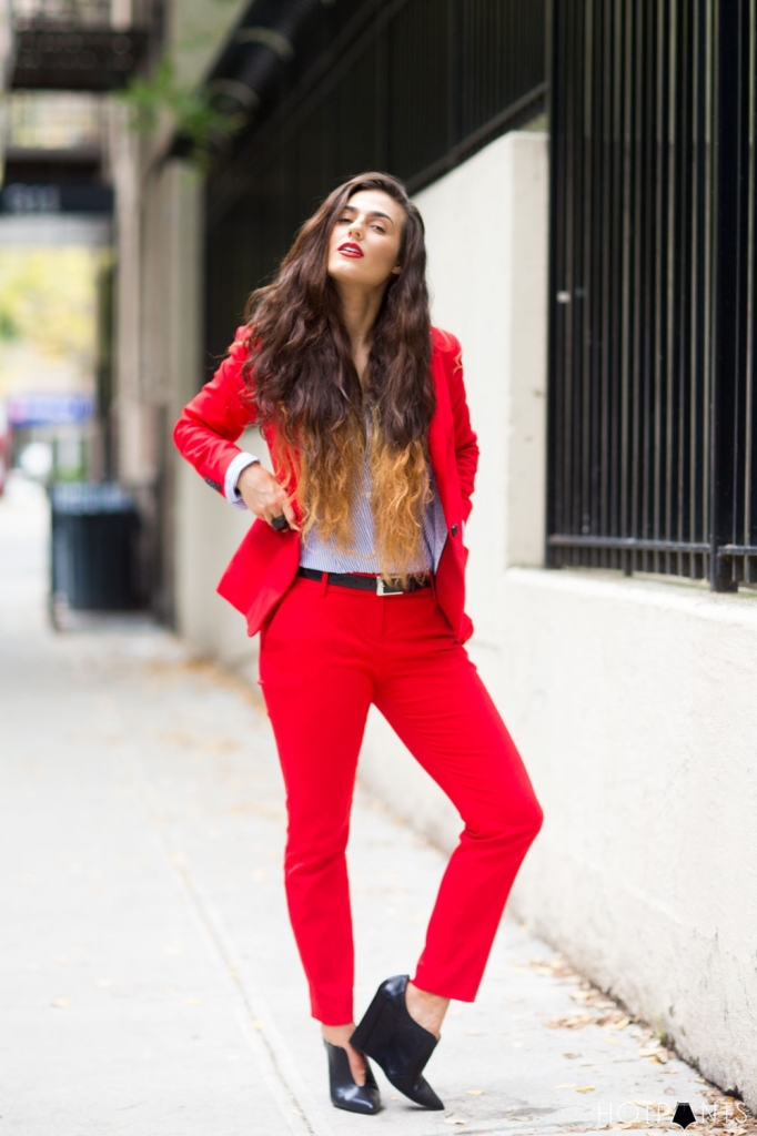 Do The Hotpants Dana Suchow Red Suit Womens Pantsuit Blazer Work Outfit Fashion 4