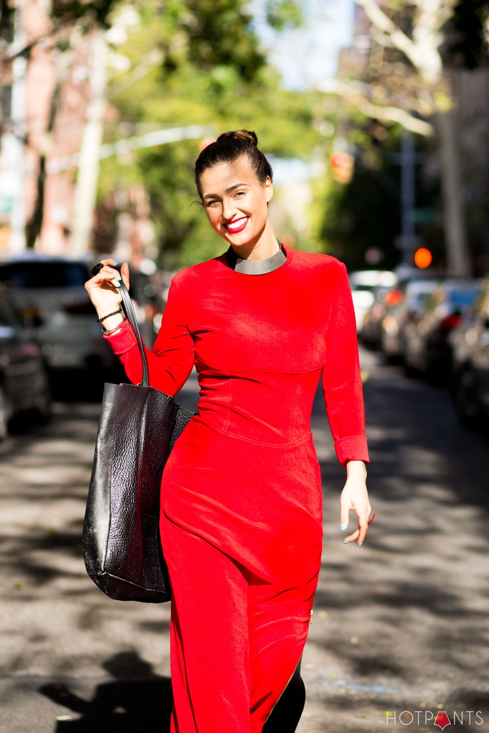 Red Lips Lipstick Matching Lips and Outfit Long Hair Bun Updo