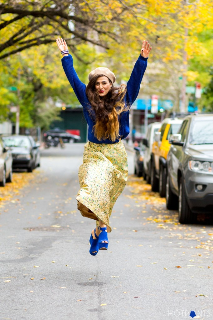 Do The Hotpants Dana Suchow Woman in Beret Bright Blue Outfit High Waisted Vintage Skirt Fall Colors 9005