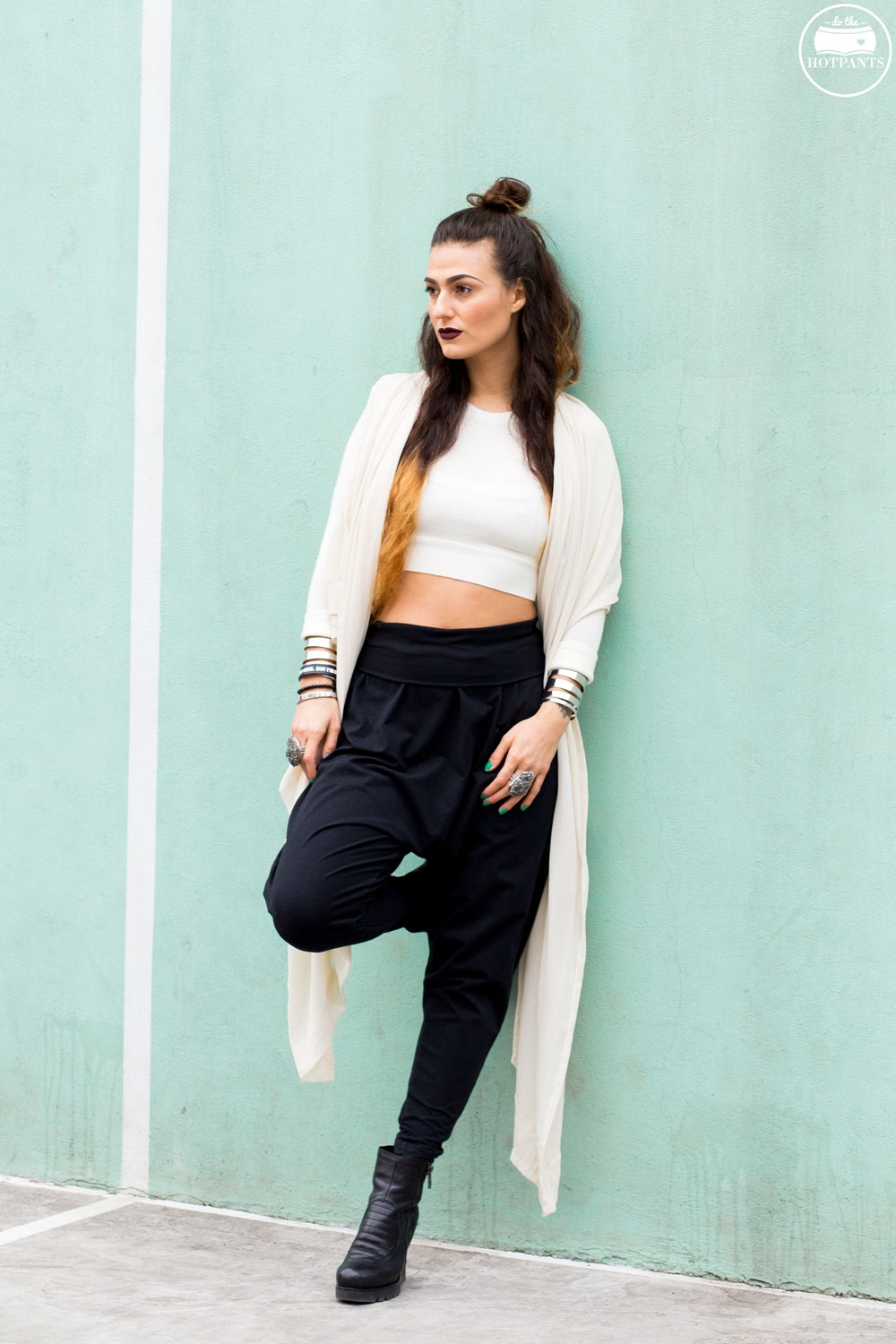 Harem Drop Crotch Pants White Black Crop Top Outfit New York Winter Fashion