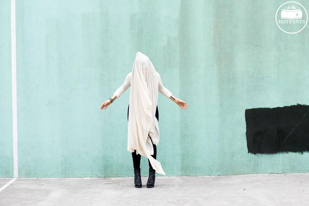 Harem Drop Crotch Pants White Black Crop Top Outfit New York Winter Fashion