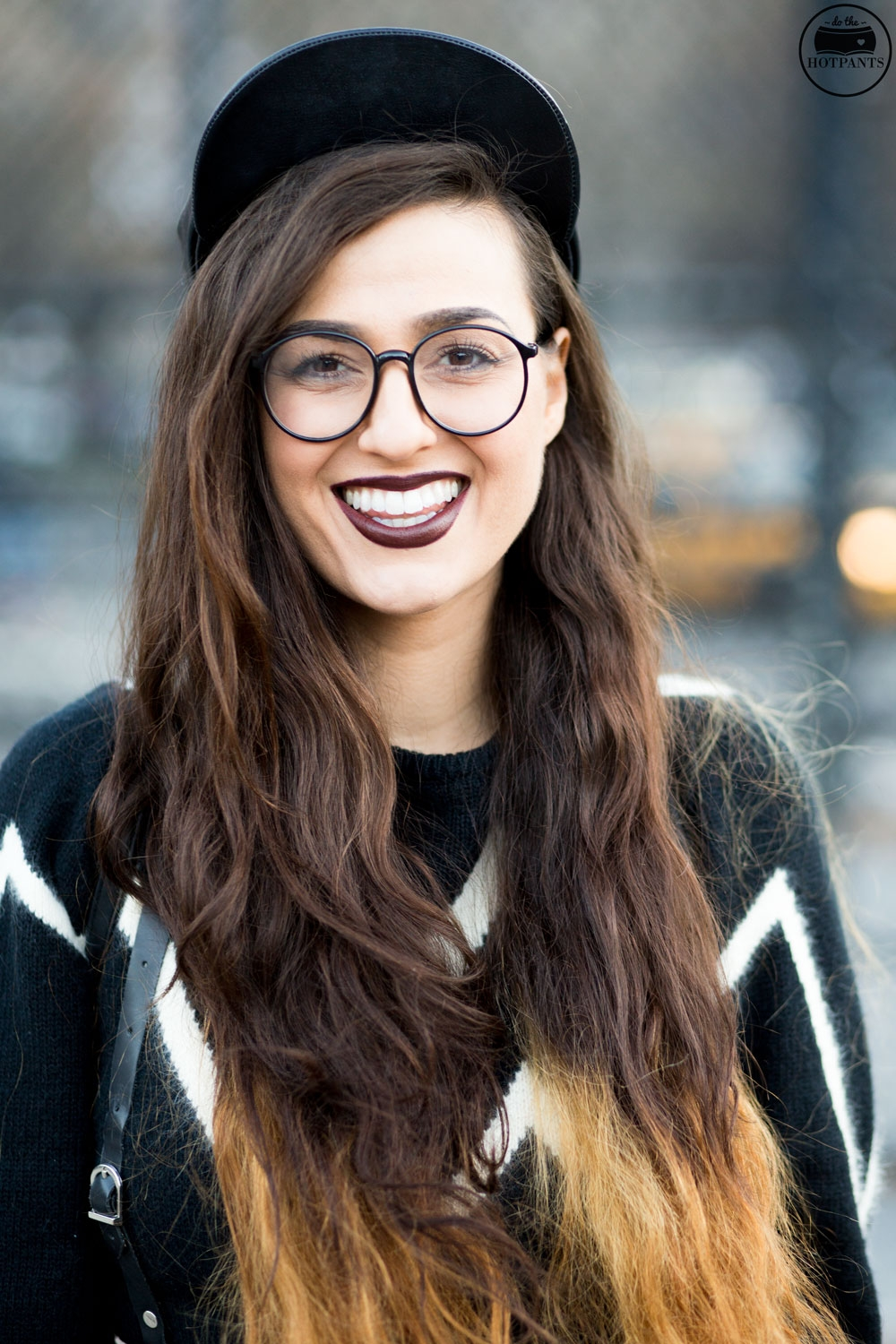 Long Hair Blogger Curvy Woman Ombre Hair New York Winter Goth Fashion